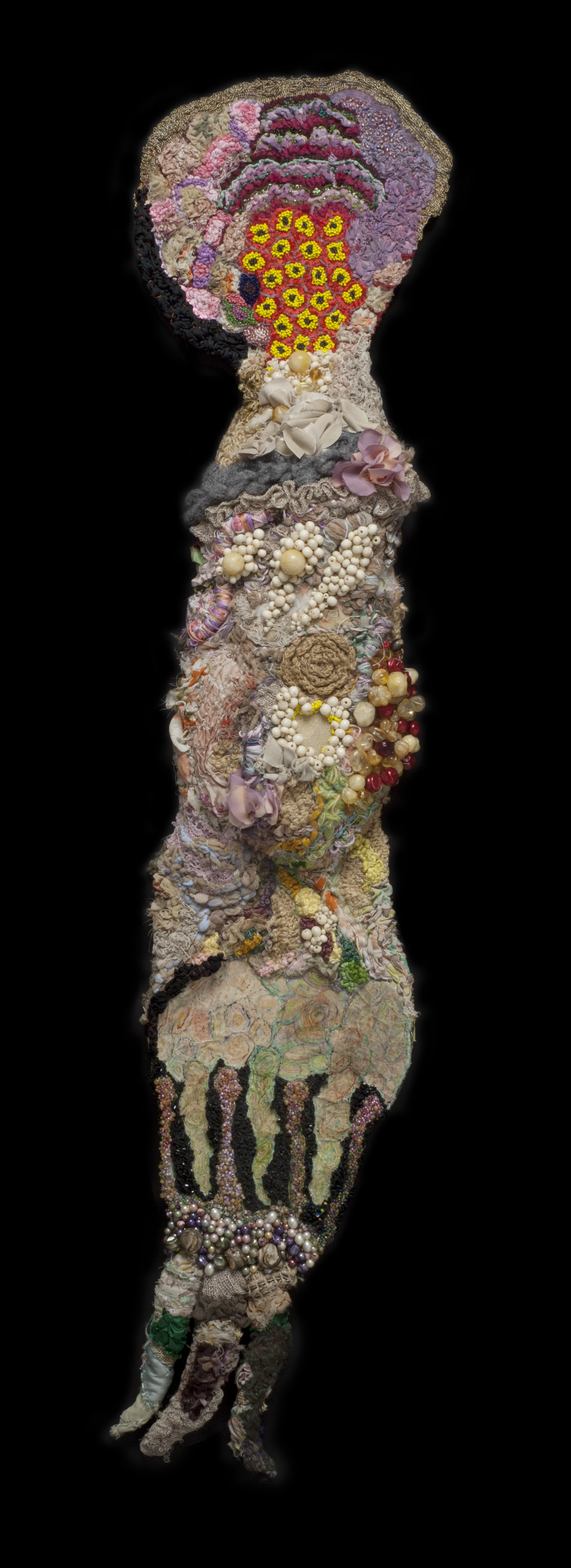 Sandra Sheehy    Untitled  , 2006 Cotton, wool, paper and beads 45 x 8 x 2.25 inches / 114.3 x 20.3 x 5.7 cm / SSe 49