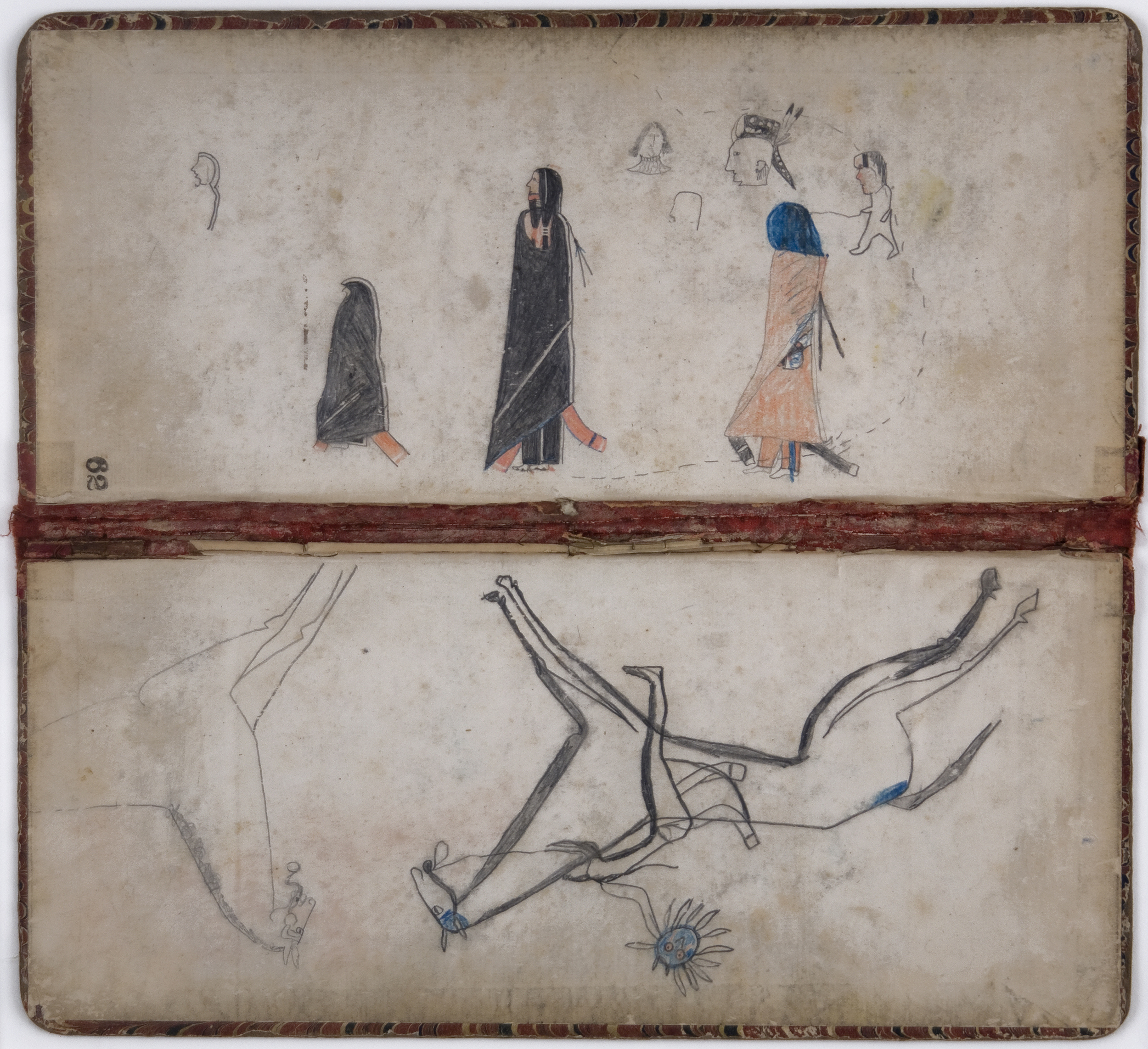 Native American    Ledger Book Ends  , c. 1890's Graphite, colored pencil on ledger binder 11.5 x 12 in / 29.2 x 30.5 cm / NAm 117