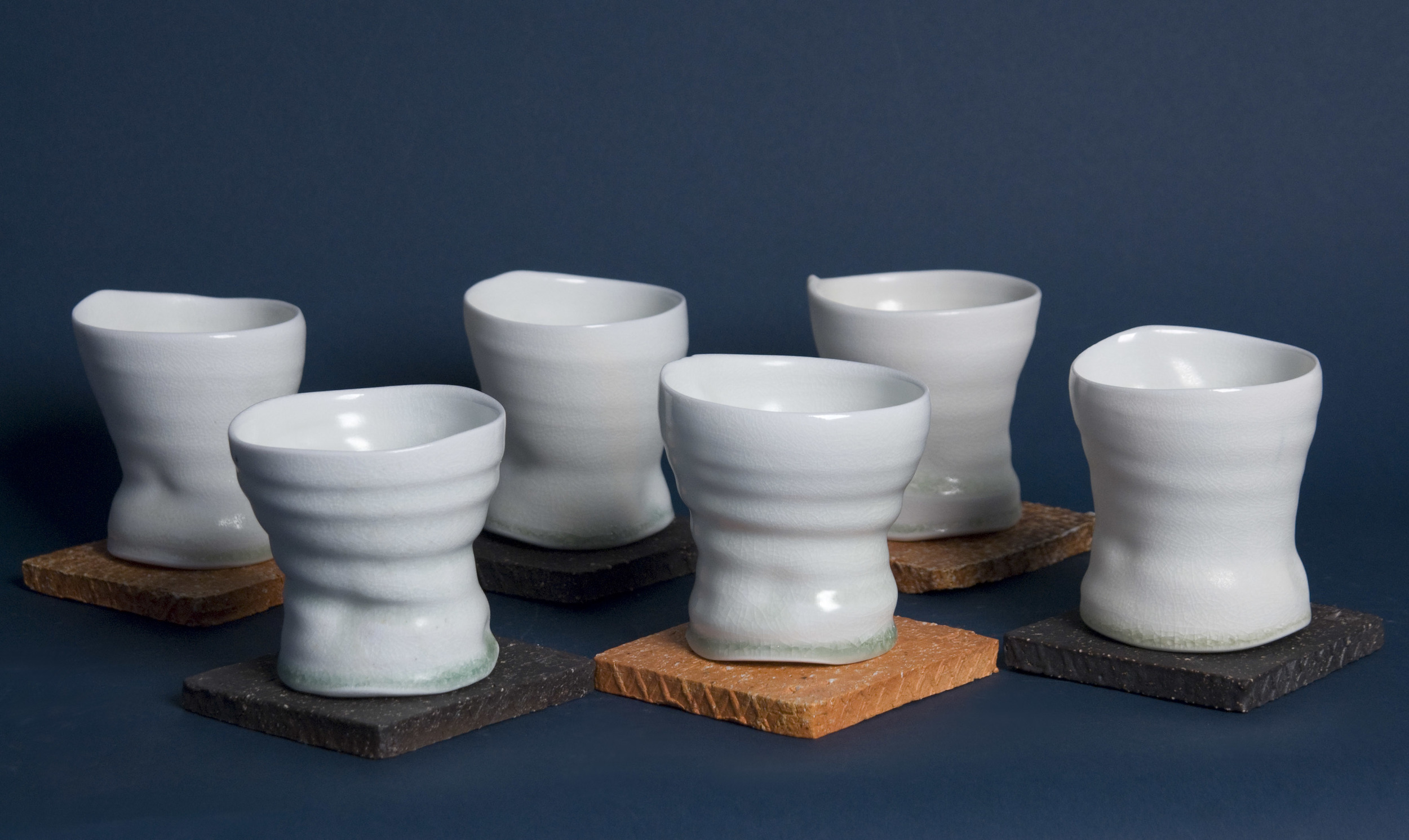 Sandy Lockwood    Six Vessels on Stand (Set of 6 with 6 Stands)  , 2011 Woodfired and salt glazed ceramic SAL 20