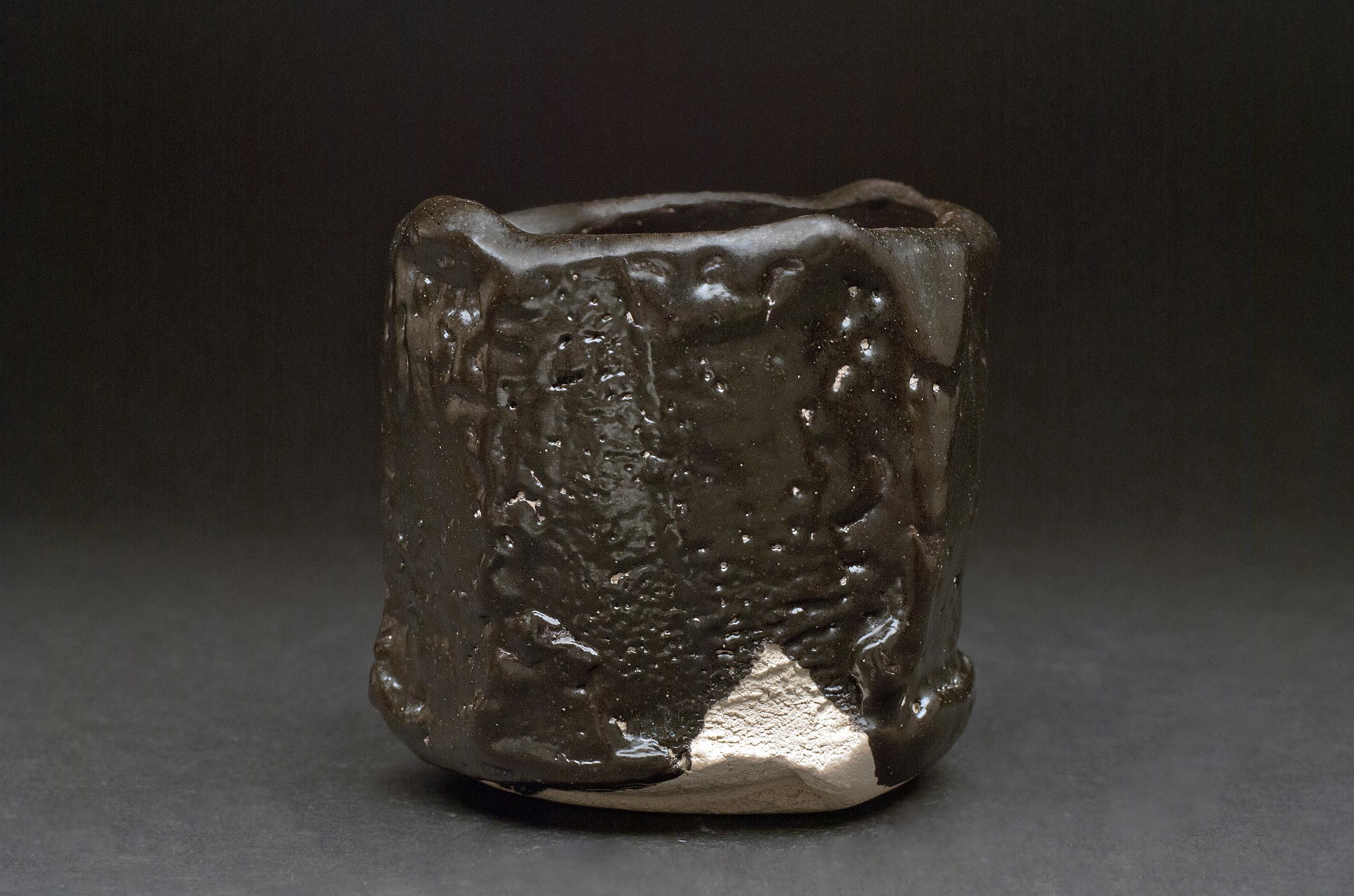 Shigemasa Higashida    Seto Guro Tea Bowl  , 2011 Earthenware 4.5 x 4.5 inches / 11.4 x 11.4 cm / SHig 3