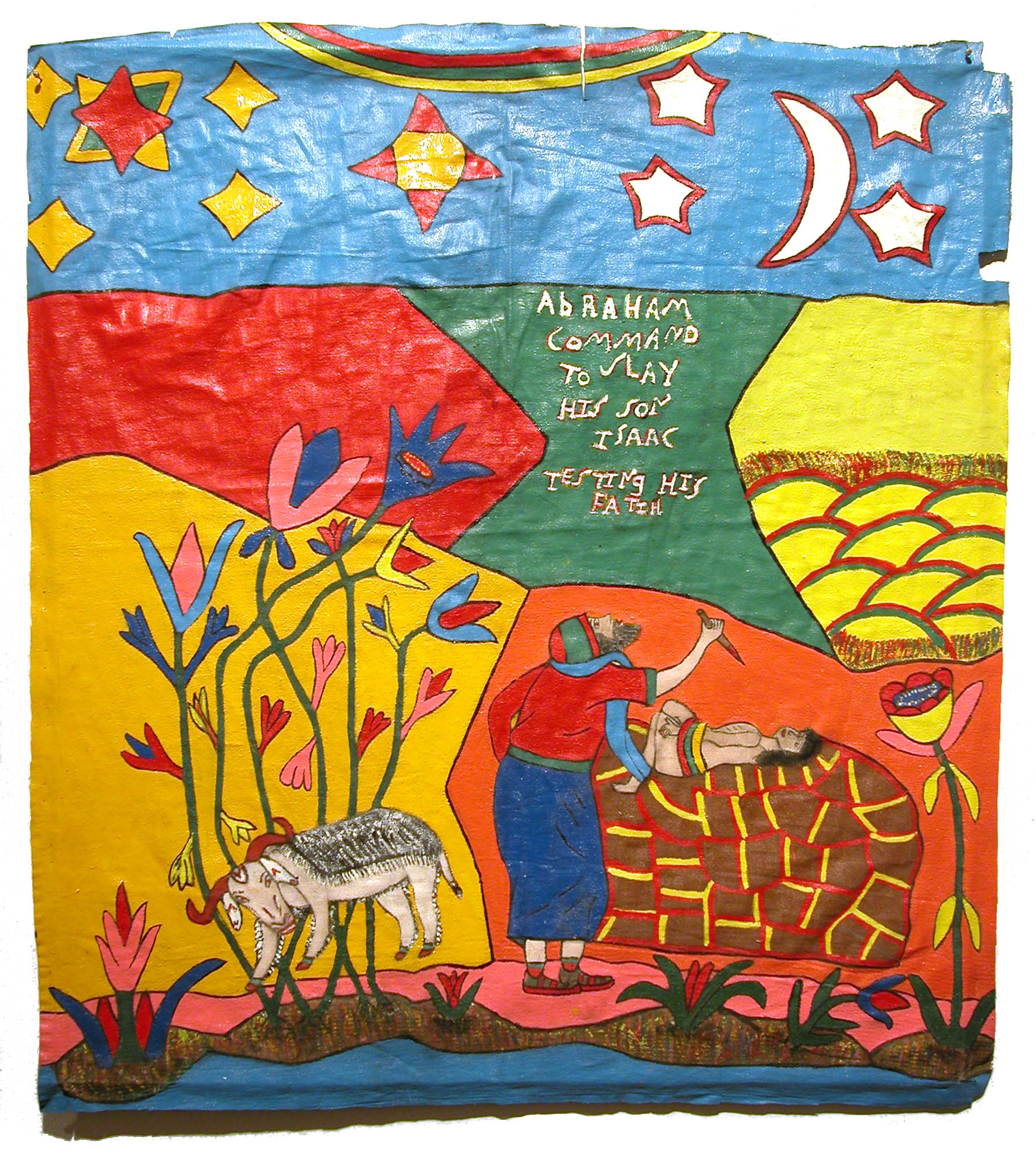 Elijah    Abraham Command to Slay his son Isaac... Testing His Faith  , 1996 Enamel/canvas 26.75 x 24.5 in / 67.9 x 62.2 cm / Eli 3