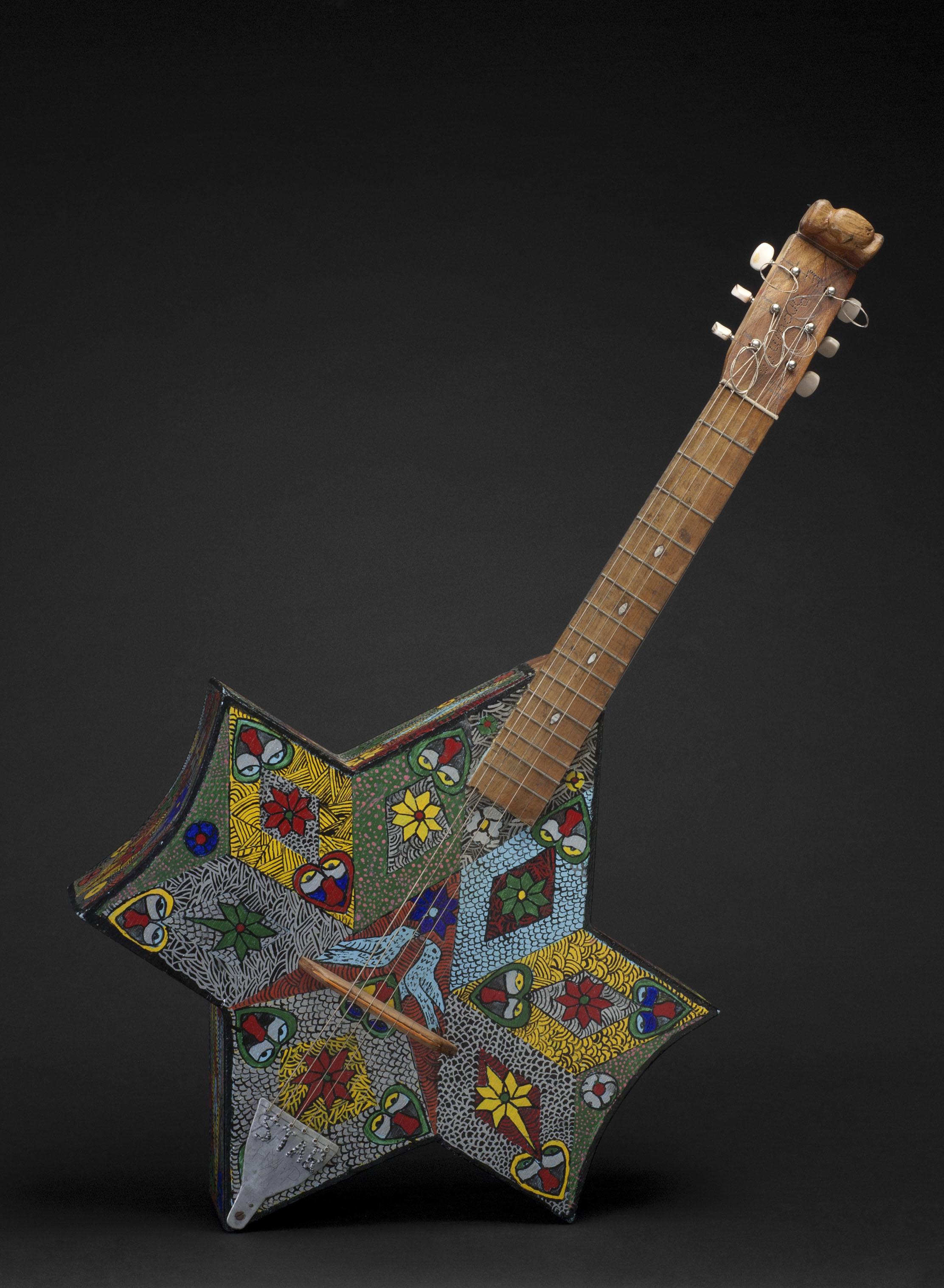 Everald Brown    Star Harp  , 1998 Metal, polychromed wood 35.5 x 17.75 x 5 inches / 90.2 x 45.1 x 12.7 cm / EB 31