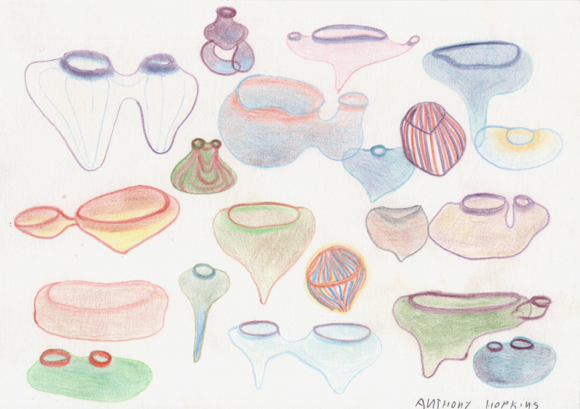 Anthony Hopkins    Rainforest Lights 4 (#147)  , 1999 Colored pencil/paper 6 x 8.25 in / 15.2 x 21.0 cm / AH 63