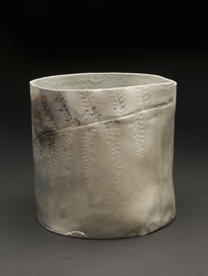 Deirdre Hawthorne    Fingerprints I  , 2011 Glazed and saggar fired porcelain 5 x 5 inches 12.7 x 12.7 cm DH 19
