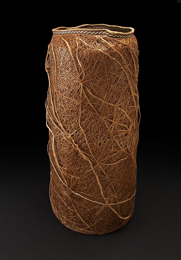 Dawn Walden    Random Order  , 2014 Cedar bark, cedar roots, and bear grass 35 x 16 x 16 inches 88.9 x 40.6 x 40.6 cm DWa 1