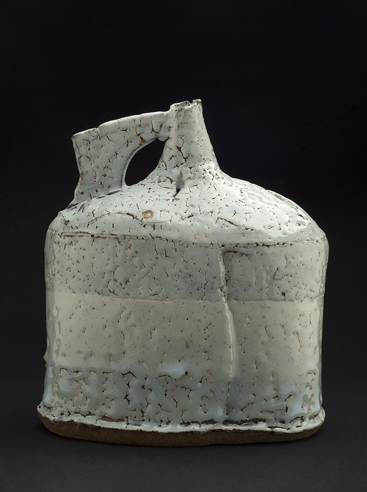 Jane Wheeler    Black Ice Flagon  , 2013 Stoneware clay with chun glaze, slab built 10.5 x 9.75 x 5.75 inches 26.7 x 24.8 x 14.6 cm JWh 2