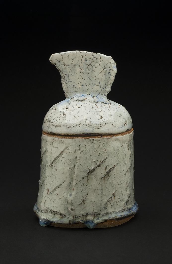 Jane Wheeler    Black Ice Lidded Oval Box  , 2013 Stoneware clay with chun glaze, slab built 7.25 x 4.75 x 45 inches 18.4 x 12.1 x 114.3 cm JWh 4