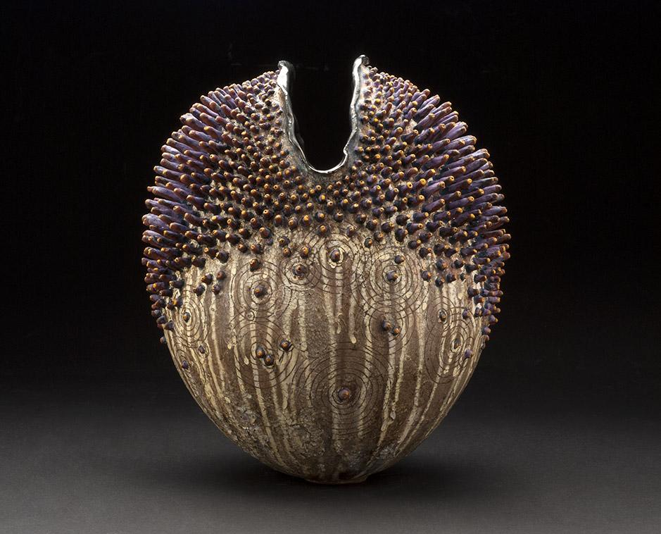 Melanie Ferguson    Urchin 12  , 2013 Handbuilt stoneware (coil method), sgraffito, oxide stains, crackle slip 15 x 11 x 8 inches 38.1 x 27.9 x 20.3 cm MFe 4