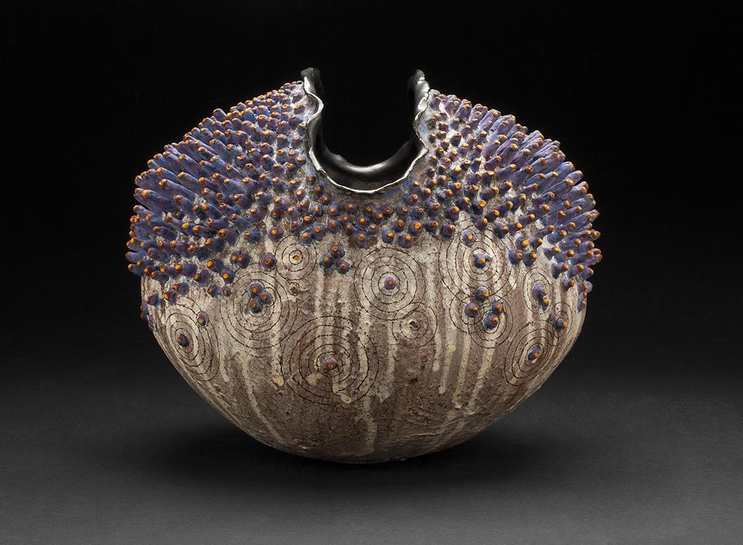 Melanie Ferguson    Urchin 9  , 2013 Handbuilt stoneware (coil method), sgraffito, oxide stains, crackle slip 11 x 12 x 8 inches 27.9 x 30.5 x 20.3 cm MFe 5