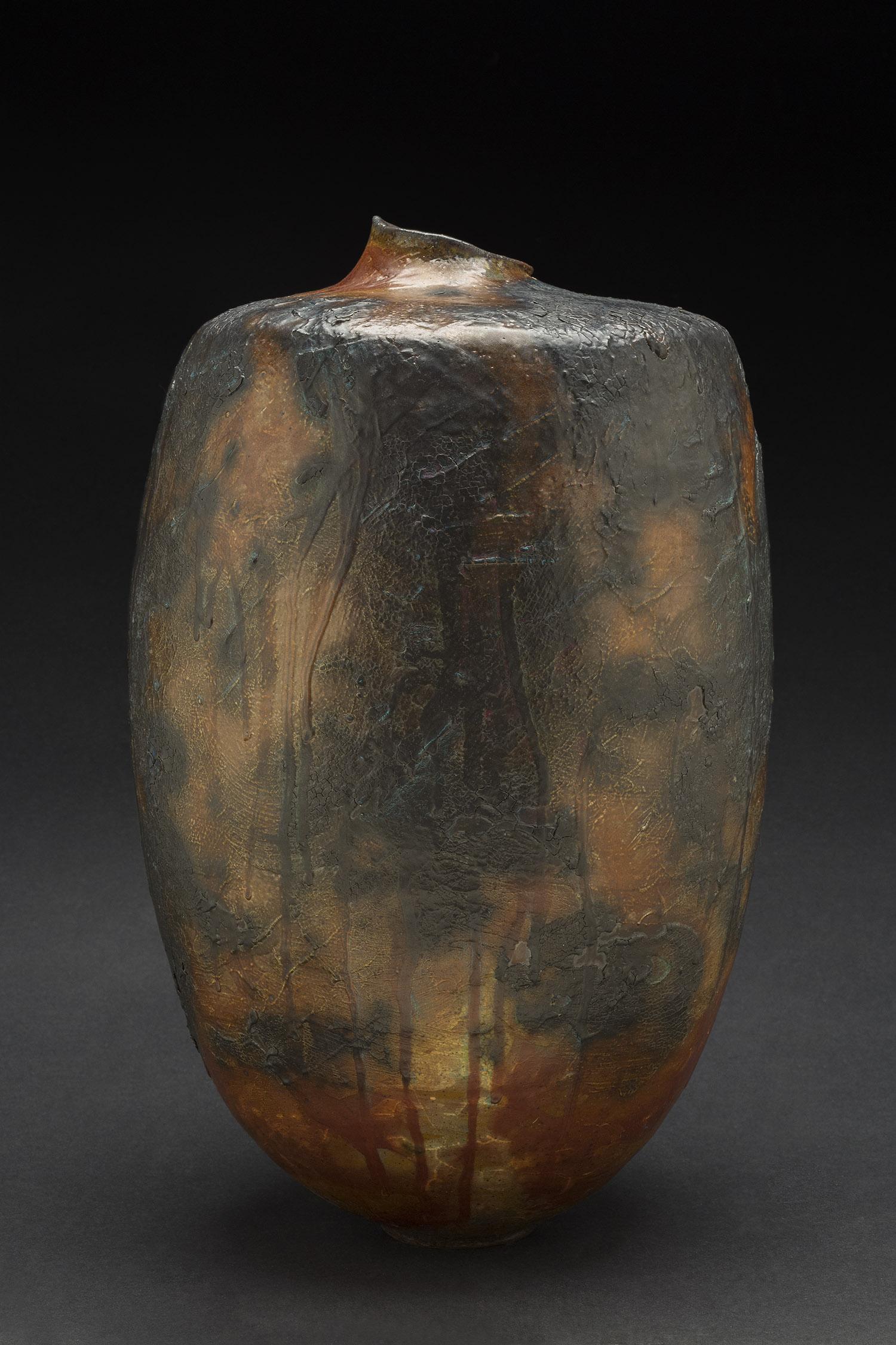 Melanie Ferguson    Clouds on Fire  , 2014 Handbuilt stoneware, kohiki slip, copper black oxide stain, flashing slip. Soda fired to cone 11. 15 x 9 x 9 inches 38.1 x 22.9 x 22.9 cm MFe 16