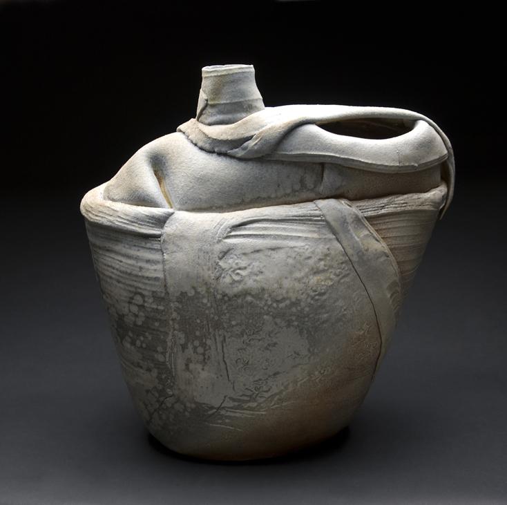 Monique Rutherford    Draped Visseau  , n.d. Woodfired clay 16 x 16 x 8 inches 40.6 x 40.6 x 20.3 cm MRu 3