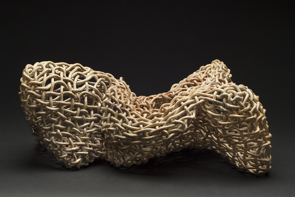 Phyllis Sullivan    Vortex No. 63  , 2014 Stoneware, interlaced clay coils; fired to cone 8 in electric kiln/sawdust fired for color 9.5 x 18 x 13 inches 24.1 x 45.7 x 33 cm PSu 4