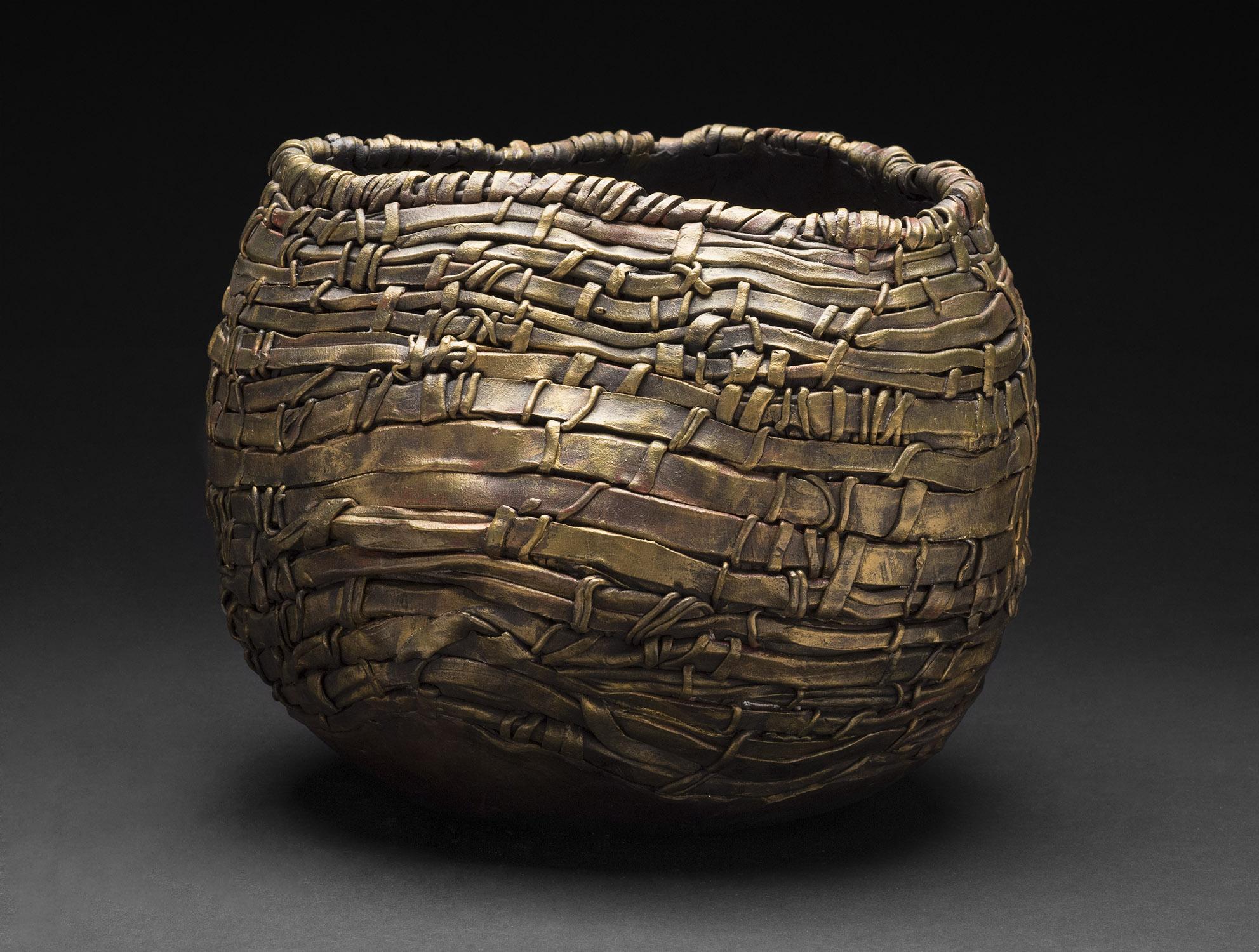 Susan Margin    Solitude  , 2012 Woven clay, metallic finishes 9 x 10 x 10 inches 22.9 x 25.4 x 25.4 cm SMrg 3