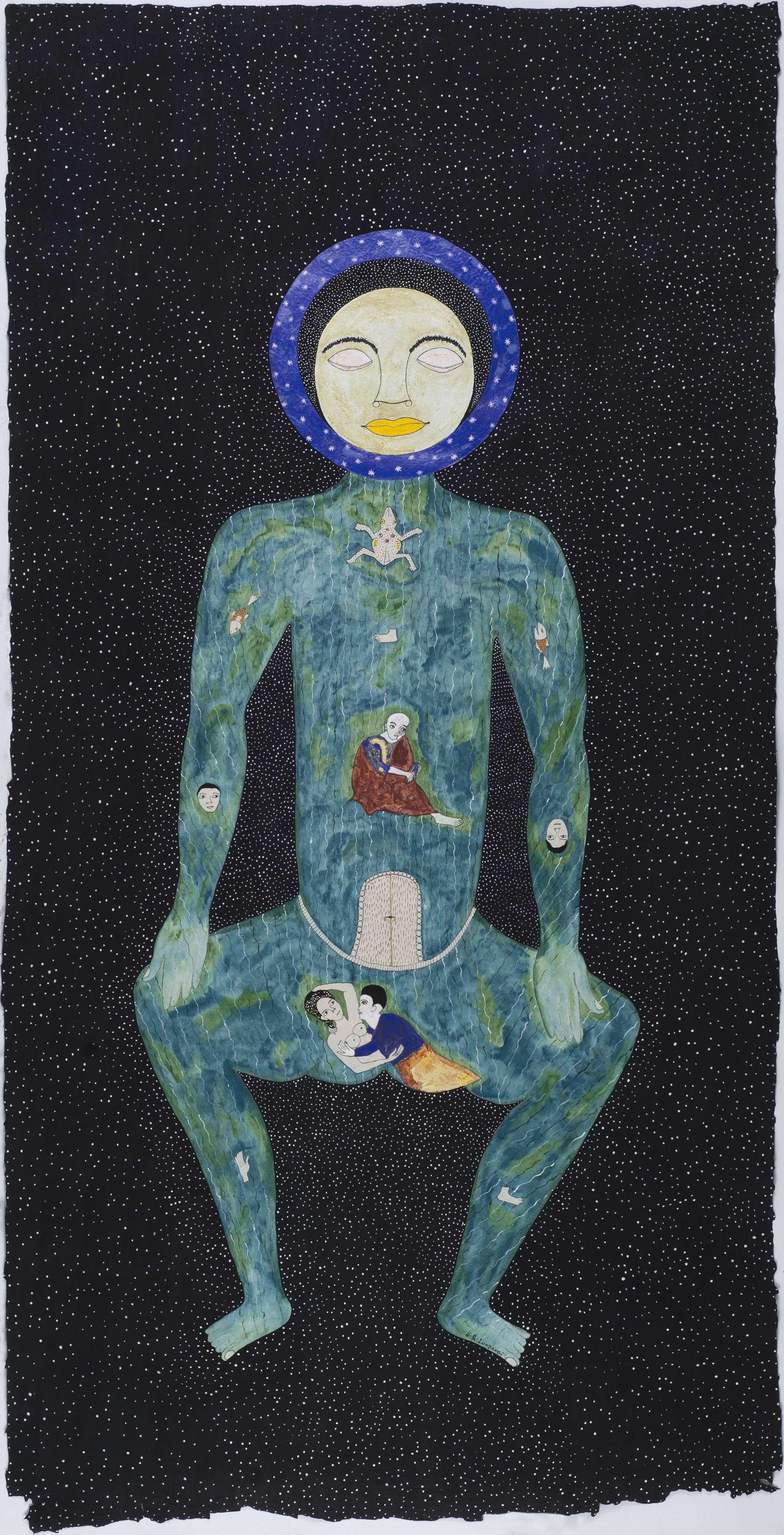 Franck K. Lundangi    Man Universe  , 2012 Pigment acrylic, watercolor on paper 36.5 x 72.25 inches / 92.7 x 183.5 cm / FLu 31