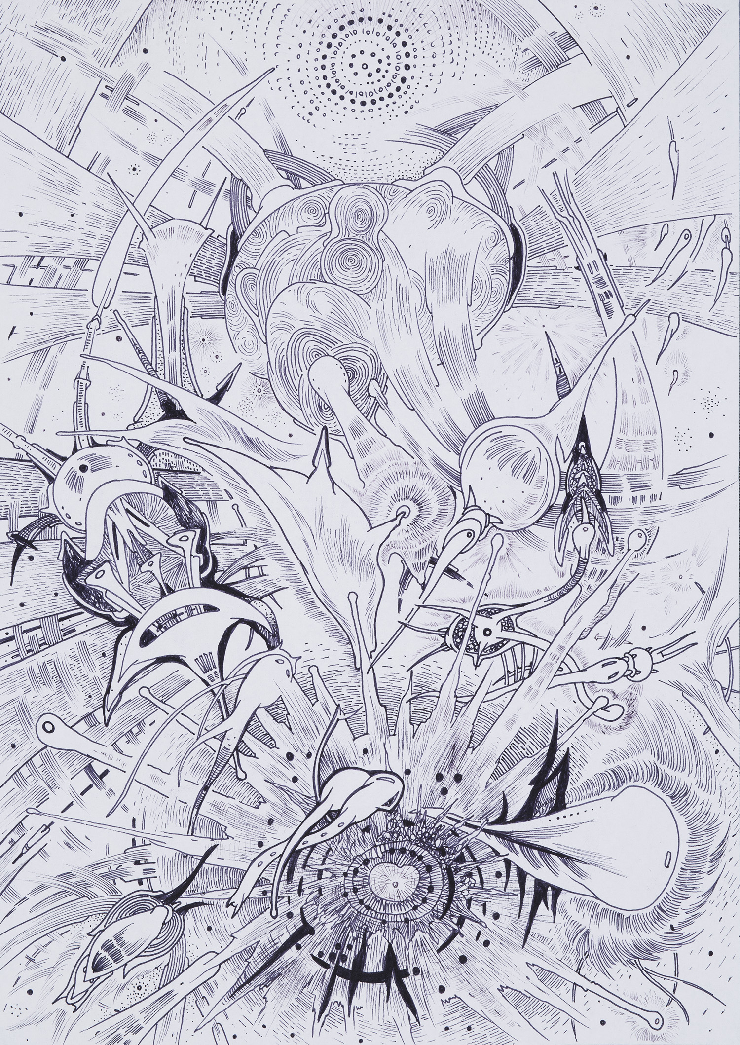 Jaroslav Čevora    Slunovrat / Solstice  , 2007 China ink on paper 11.81 x 8.27 inches 30 x 21 cm JCev 3