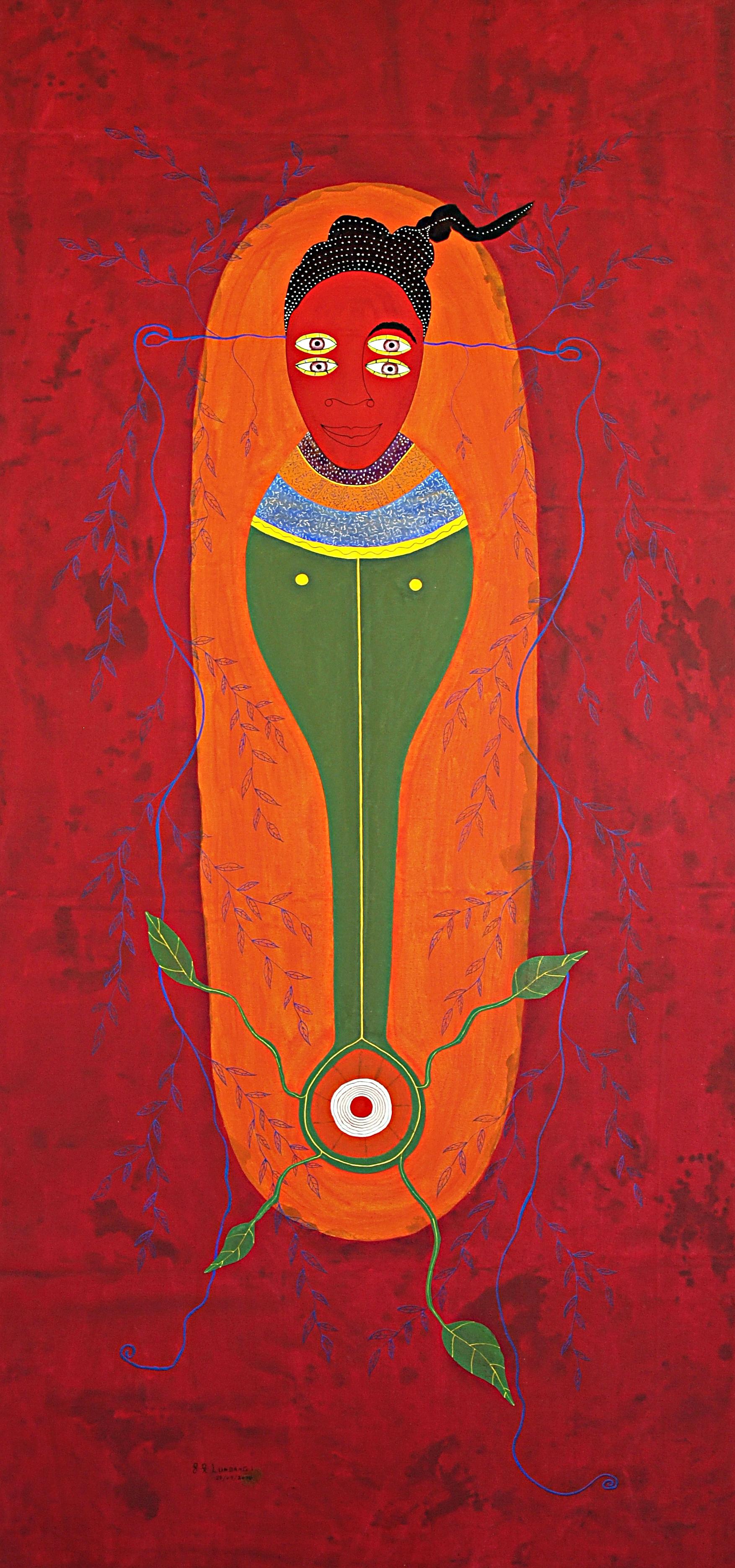 Franck K. Lundangi    Untitled  , 2014 Acrylic pigment and ink on canvas 92.5 x 43.5 inches 235 x 110.5 cm FLu 32