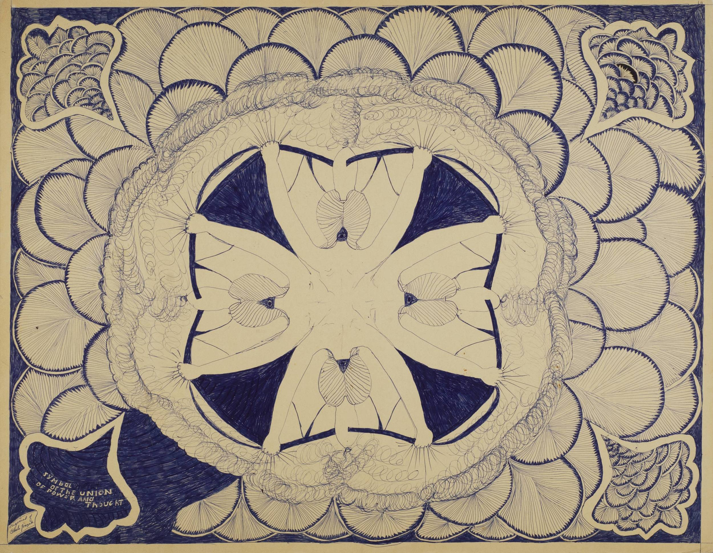 Chelo Amezcua    Symbol of The Union of Power and Thought  , 1967 Graphite, ink on matboard 22 x 28 in  (55.9 x 71.1 cm) CA 99