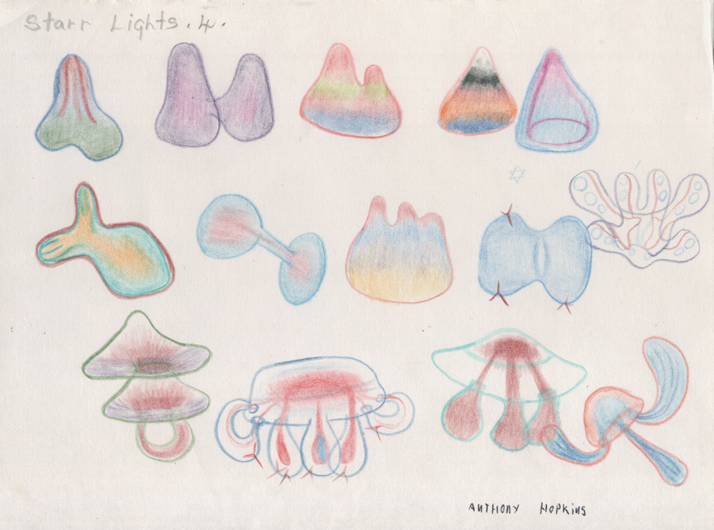 Anthony Hopkins    Star Lights 4, (131)  , 1998 Colored pencil/paper 7 x 9.5 inches 17.8 x 24.1 cm AH 48