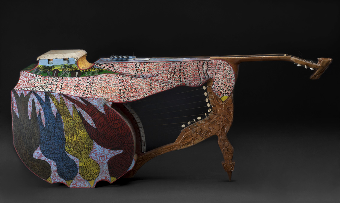 Everald Brown    Four Person Dove Harp  , 1992 Metal, polychromed wood 67 x 29 x 13 inches 170.2 x 73.7 x 33 cm EB 32
