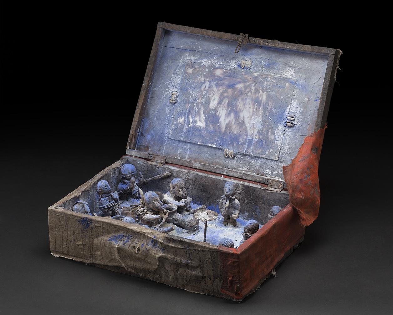 Africa,   Portable Vodun Altar - Fon people - Benin  , Mid. 20th C.,Wood, clay, metal, pigment, shells, mirror,19.5 x 14 x 6.5 inches,Af 354