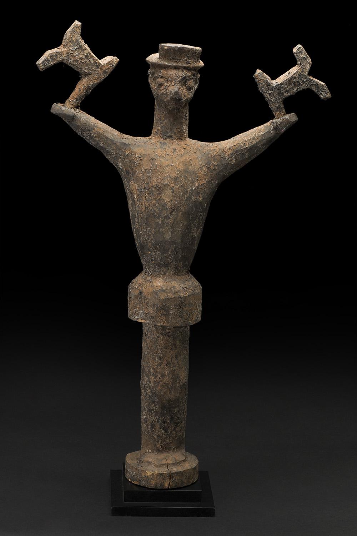 Africa    Hevioso Figure - Vodun Sculpture - Fon People - Benin  , Mid. 20th C. Wood 29.5 x 15 x 6 inches 74.9 x 38.1 x 15.2 cm Af 300