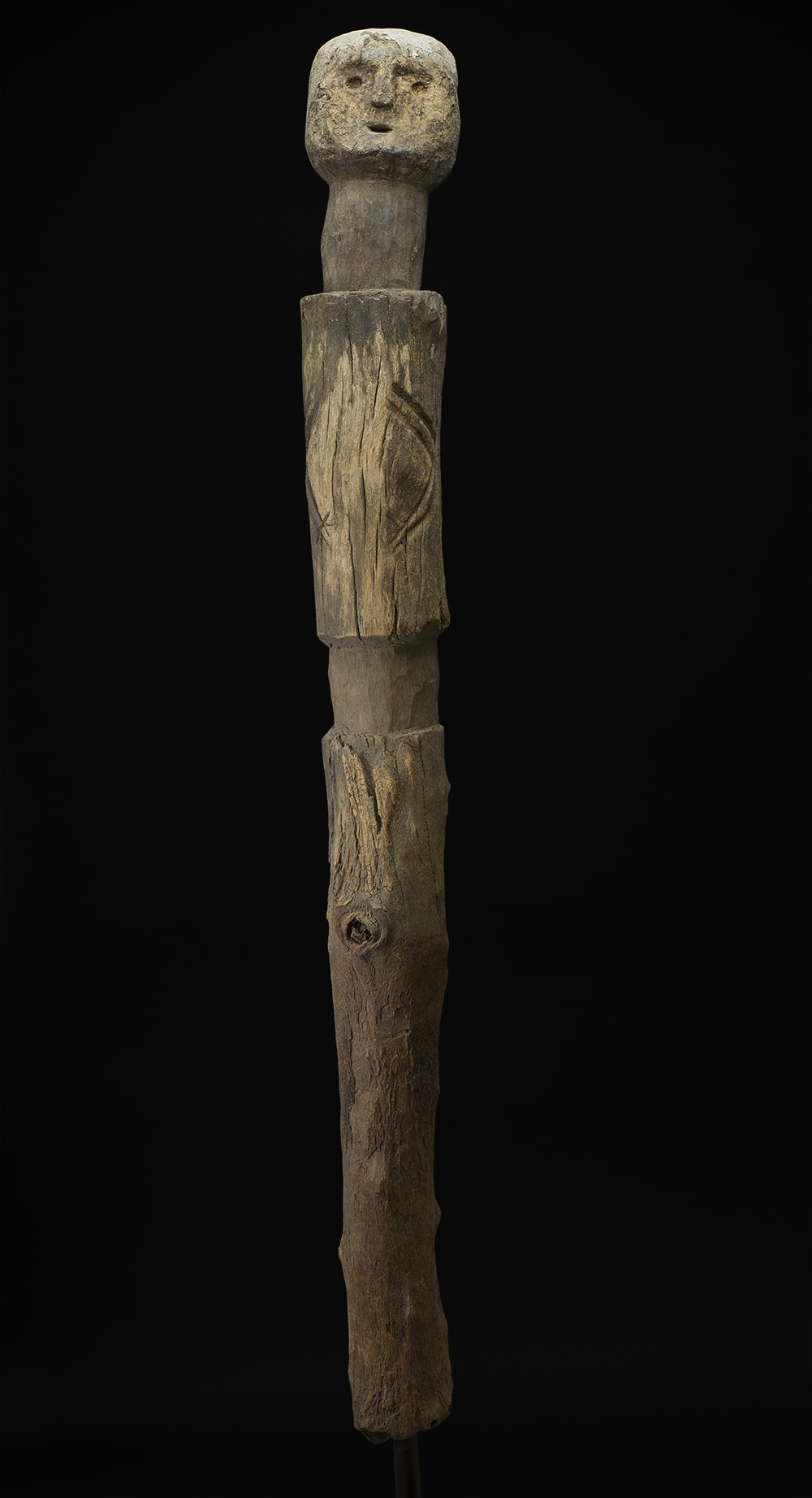 Africa    Bocio - Ewe People - Togo  , Early 20th C. Wood, sacrificial materials 60.5 x 6 x 6 inches 153.7 x 15.2 x 15.2 cm Af 301