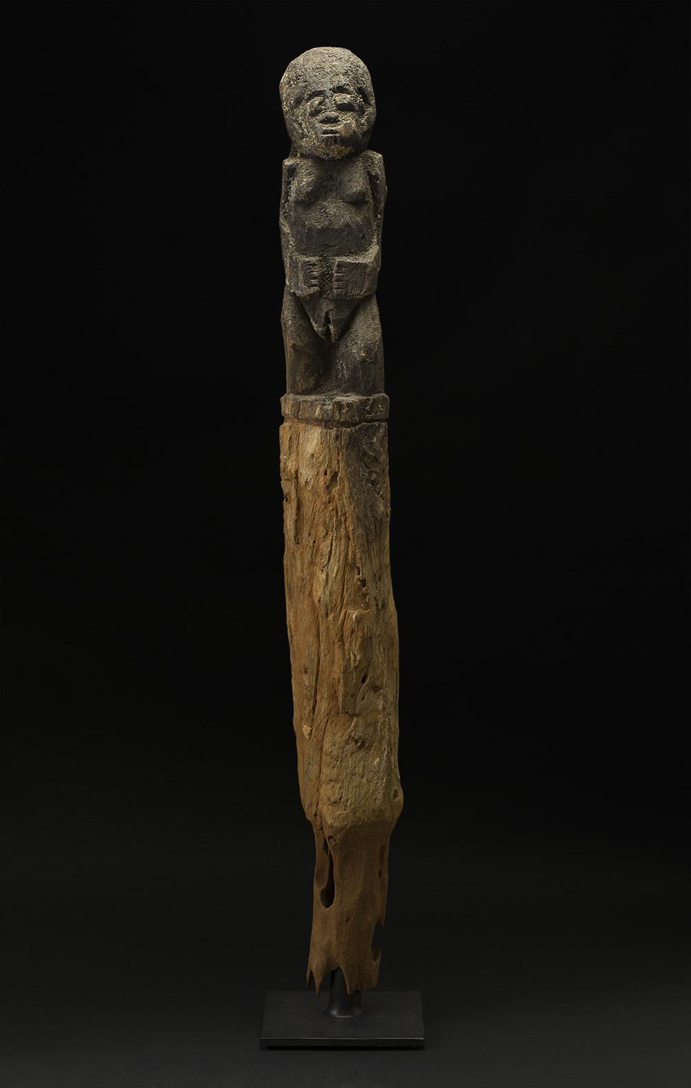 Africa    Bocio - Fon People - Benin  , Early 20th C. Wood, sacrificial materials 48 x 5.5 x 5 inches 121.9 x 14 x 12.7 cm Af 333