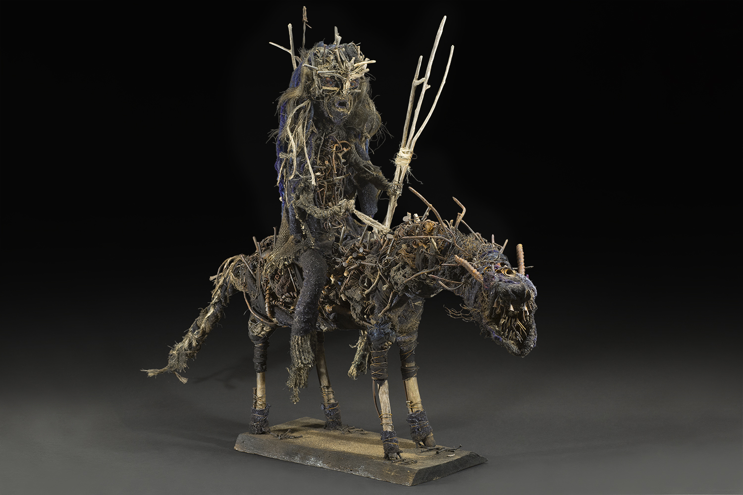 Sylvain and Ghyslaine Staelens,    Cavalier  , 2015, Wood, metal, cloth, found objects, 35 x 47 x 13 inches, 88.9 x 119.4 x 33 cm, GSS 37
