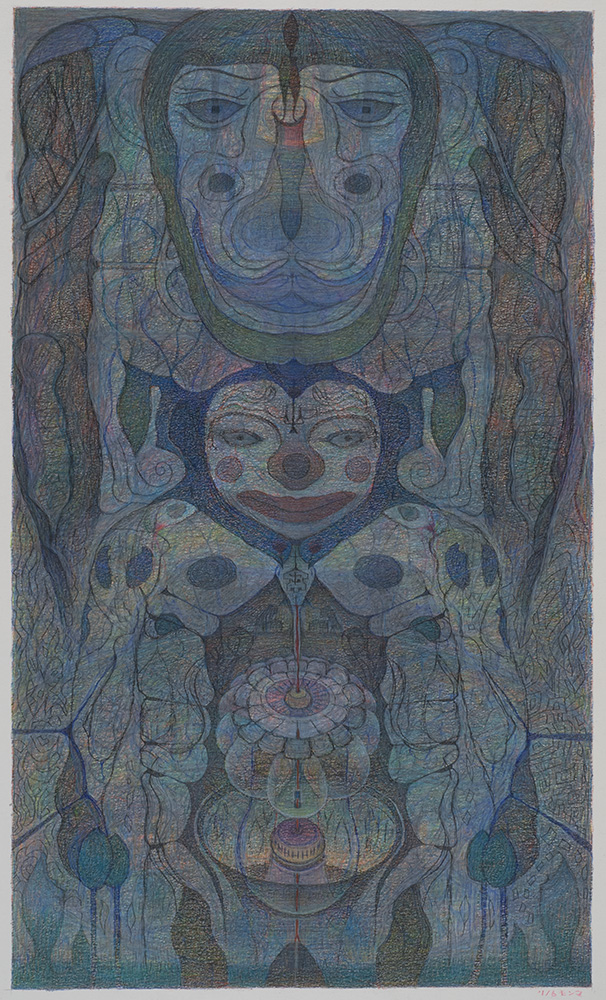 M'onma    Untitled  , 2001 Color pencil on paper 18.75 x 11.125 inches 47.6 x 28.3 cm IMo 57