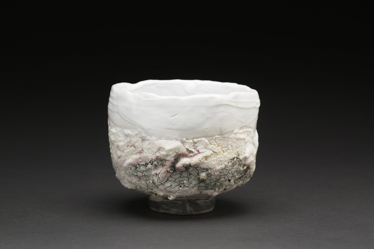Eddie Curtis    Chawan  , 2014 Clay, applied texture and oxides to outer surface, shino glaze on rim and inner surface 4 x 4.5 x 4.5 inches 10.2 x 11.4 x 11.4 cm ECu 3