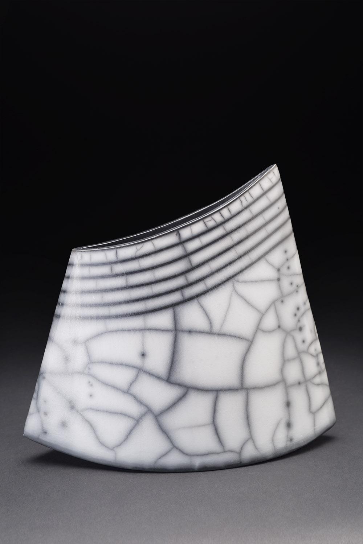 Simcha Even-Chen    Untitled  , 2014 Slab-built, burnished, terra sigillata, Naked Raku 10 x 11 x 4.25 inches 25.4 x 27.9 x 10.8 cm SEC 7
