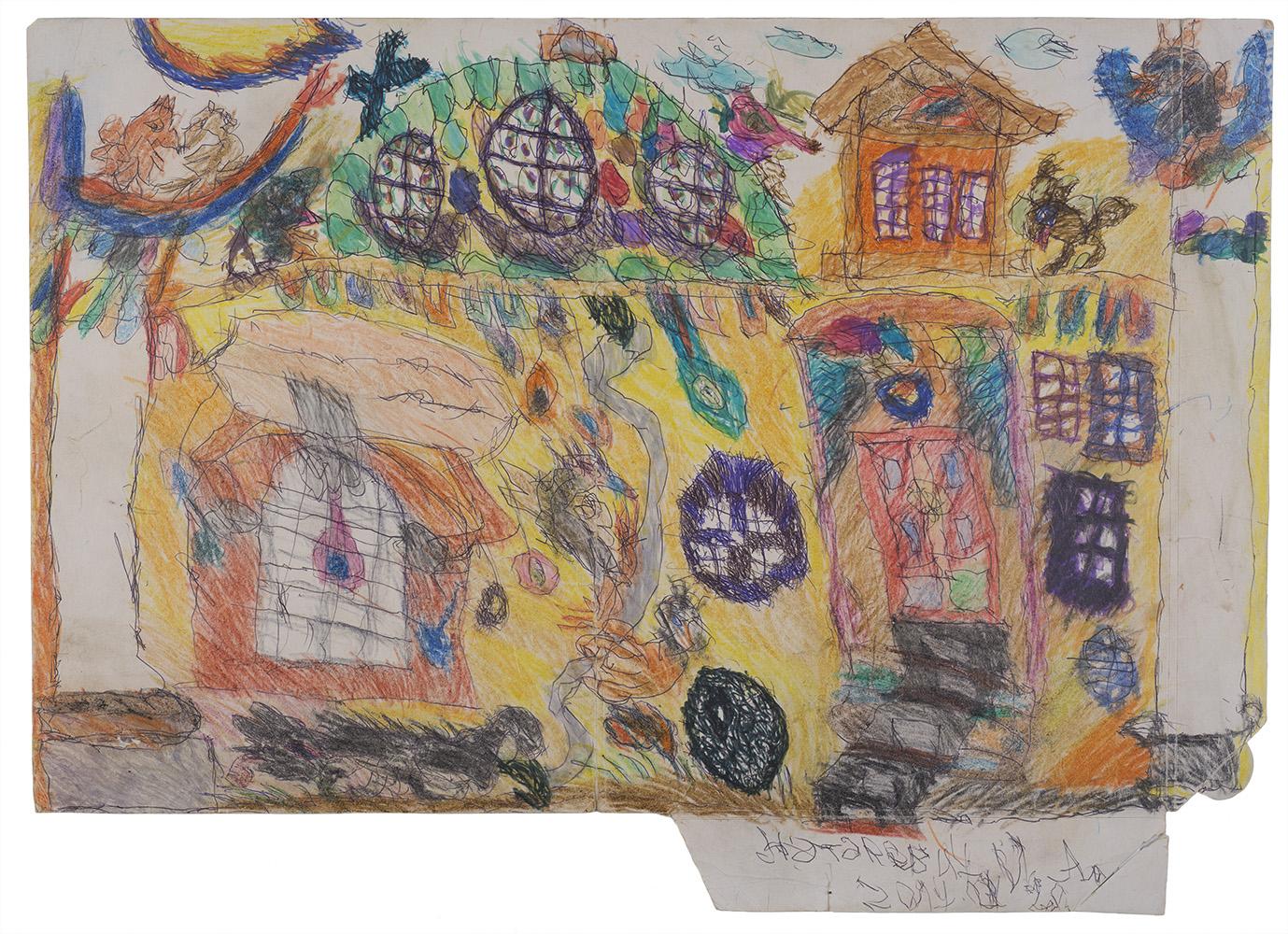 Ilya Natarevich    Church of St. Catherine  , 2015 Ink, graphite, crayon on cardboard 19 x 26.5 inches 48.3 x 67.3 cm INa 11