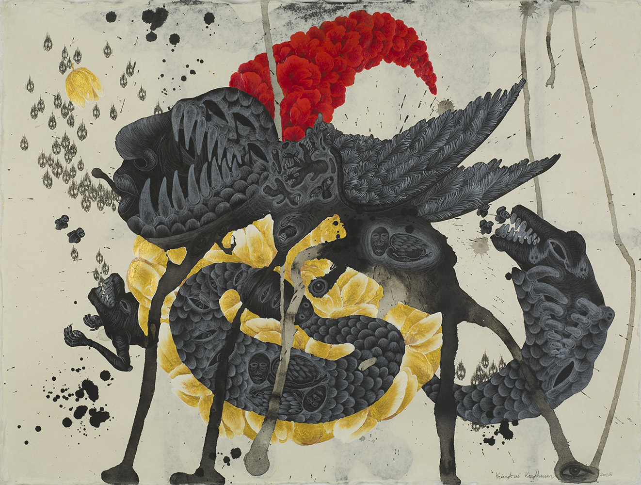 Kriangkrai Kongkhanun    The Golden Flower, Chapter 3 Snake Swallowing Tail  , 2015 Chinese ink, pen, pencil on Thai handmade paper 23.5 x 31.5 inches 59.7 x 80 cm KrK 11