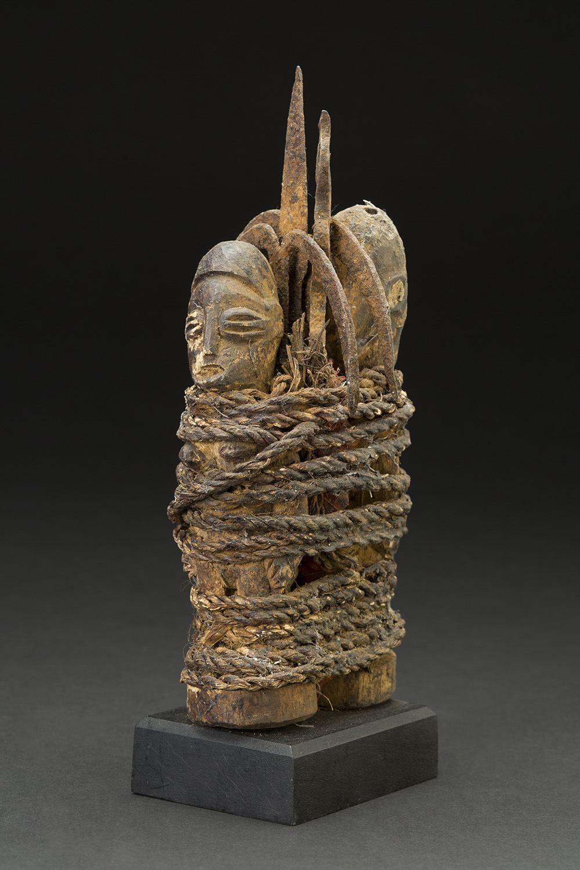 Africa    Vodun Sculpture - Adja People - Benin  , Mid. 20th C. Wood, metal, natural fibers 9 x 3.5 x 3.5 inches 22.9 x 8.9 x 8.9 cm Af 308