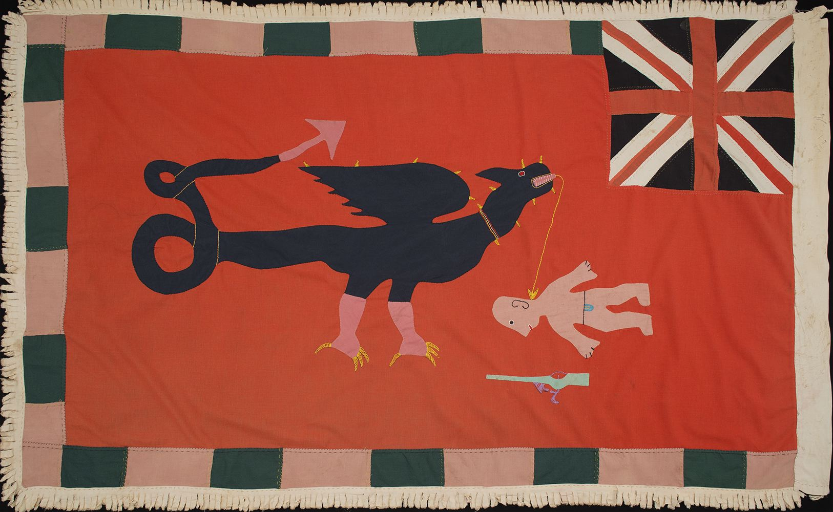 Africa    Asafo Flag - Fante People - Ghana  , Pre 1957 Cotton fabric with felt 37 x 58 inches 94 x 147.3 cm AF 370