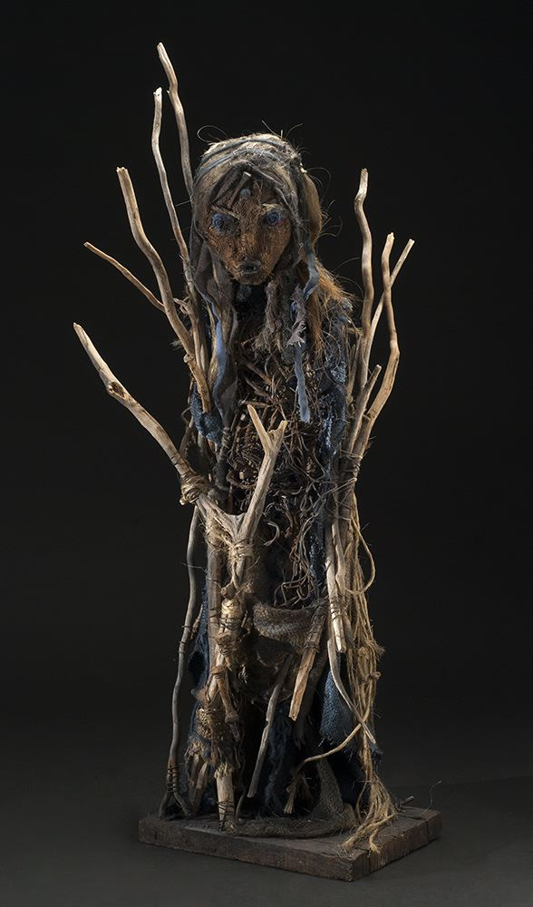 Sylvain and Ghyslaine Staelens    Personnage  , 2013 Wood, metal, cloth, found objects 38.5 x 17 x 12 inches 97.8 x 43.2 x 30.5 cm GSS 23