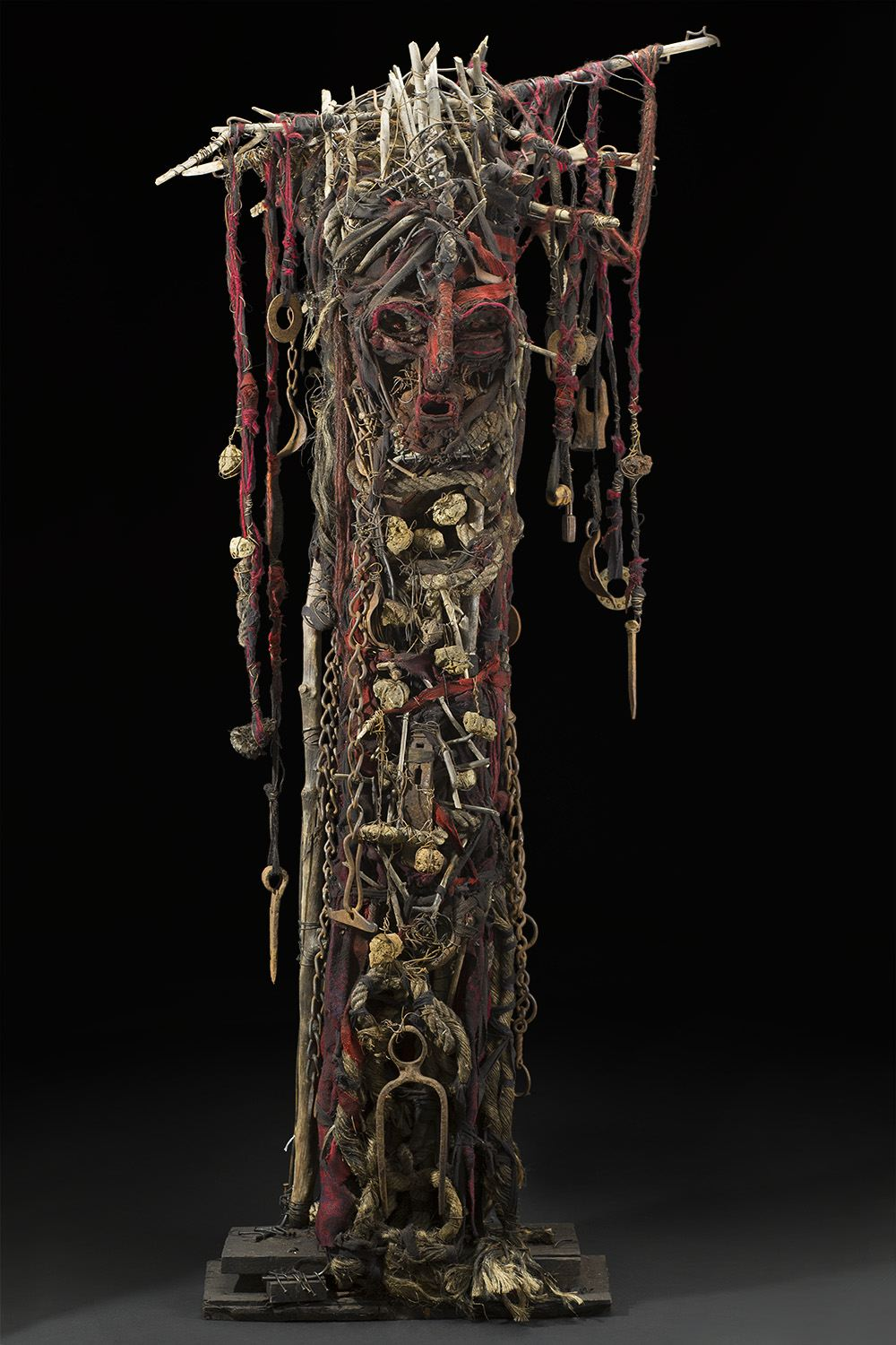 Sylvain and Ghyslaine Staelens    Totem   , 2015 Wood, metal, cloth, found objects 66 x 29 x 17 inches 167.6 x 73.7 x 43.2 cm GSS 49