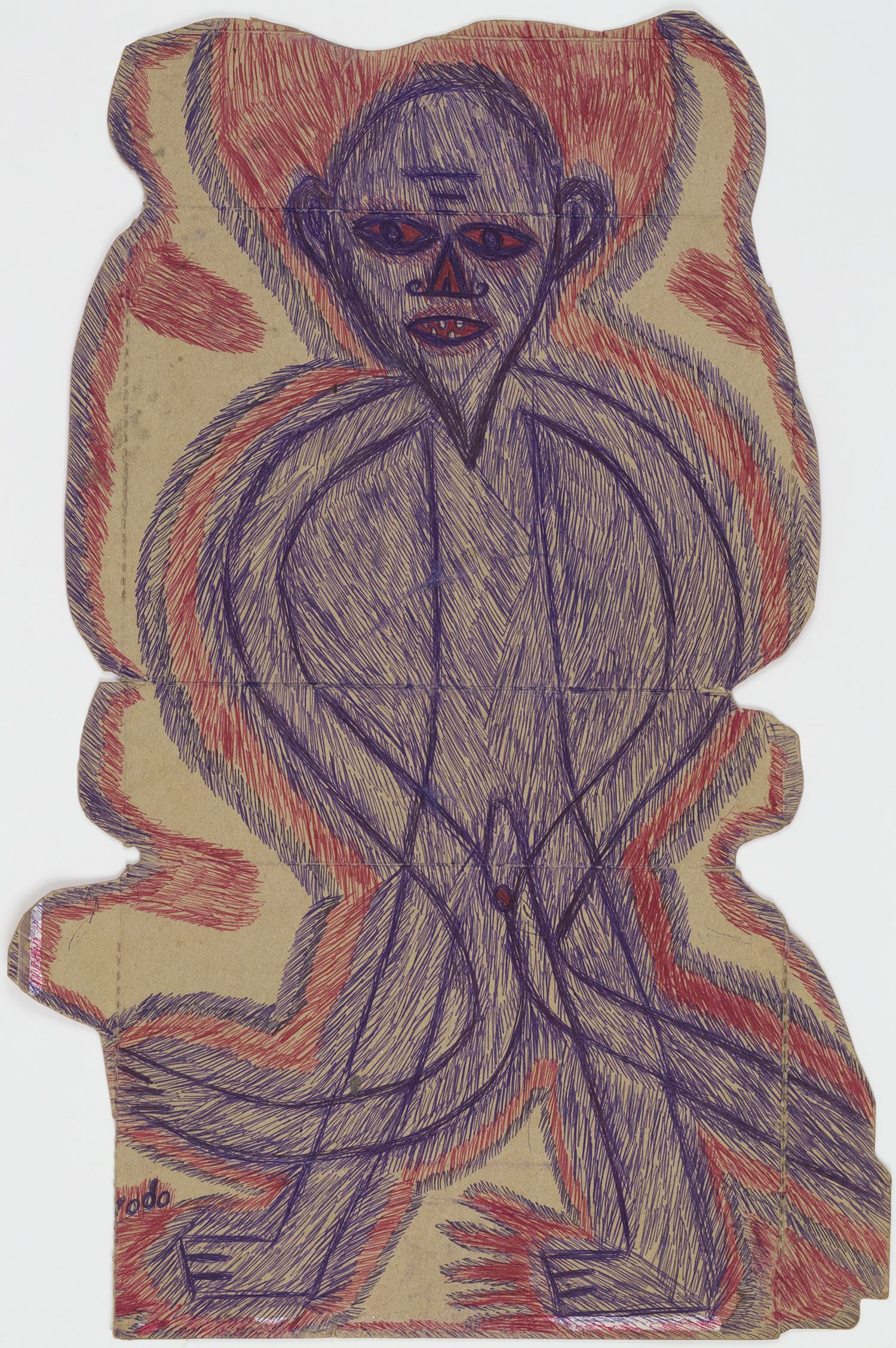 Guyodo (Frantz Jacques)    Untitled  , 2014 Ballpoint pen on recycled corn-flakes box 23.15 x 15.31 inches 58.8 x 38.9 cm Gyd 4