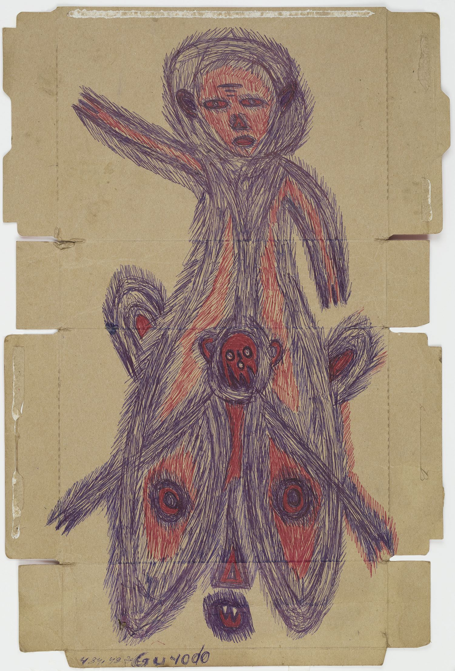 Guyodo (Frantz Jacques)    Untitled  , 2014 Ballpoint pen on recycled corn-flakes box 23.23 x 15.35 inches 59 x 39 cm Gyd 8