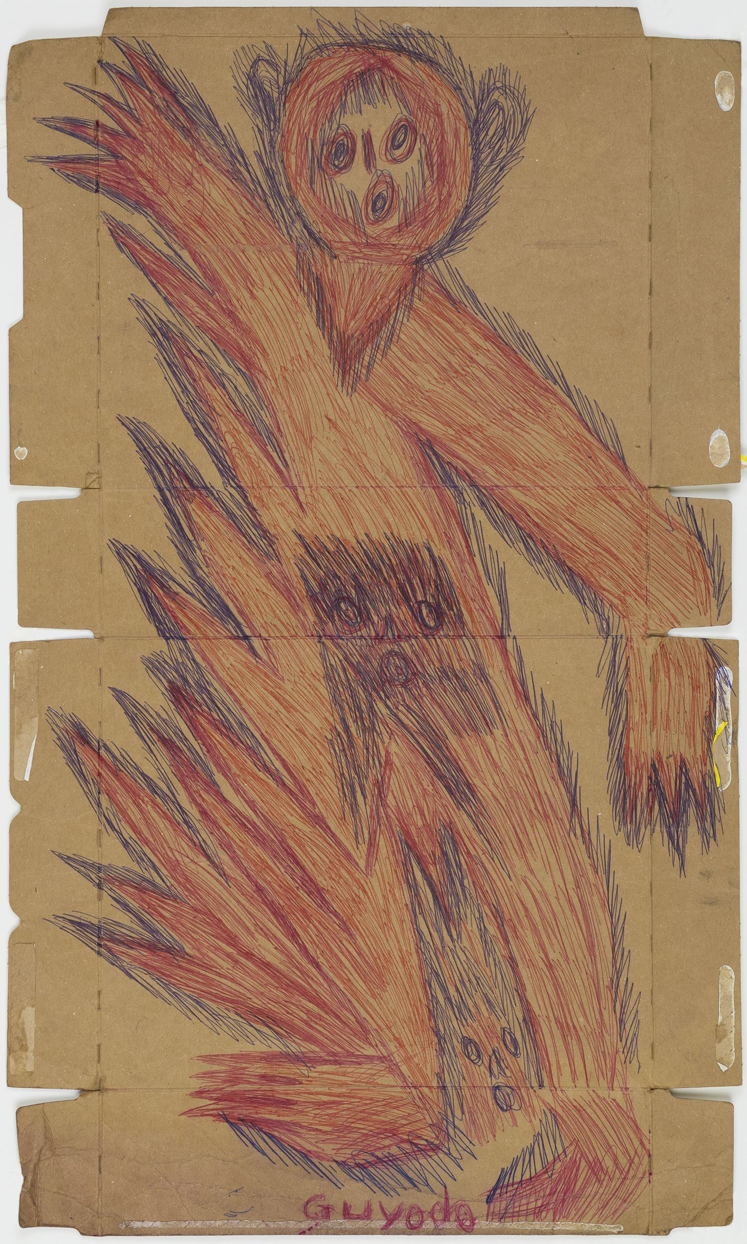 Guyodo (Frantz Jacques)    Untitled  , 2014 Ballpoint pen on recycled corn-flakes box 25.79 x 15.24 inches 65.5 x 38.7 cm Gyd 6
