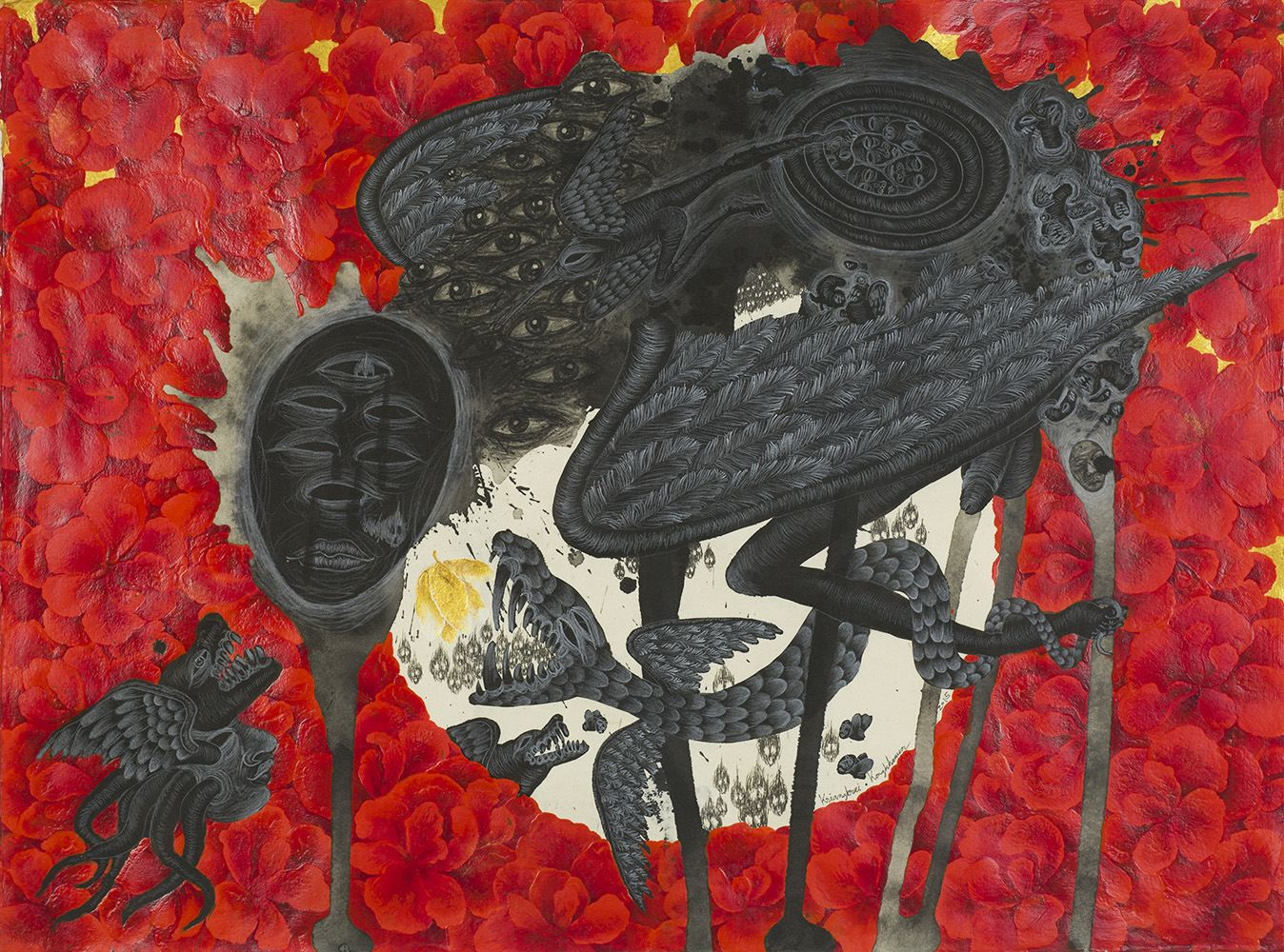 Kriangkrai Kongkhanun    The Golden Flower, Chapter 1 The Lose Moon  , 2015 Chinese ink, pen, pencil on Thai handmade paper 23.5 x 31.5 inches 59.7 x 80 cm KrK 9