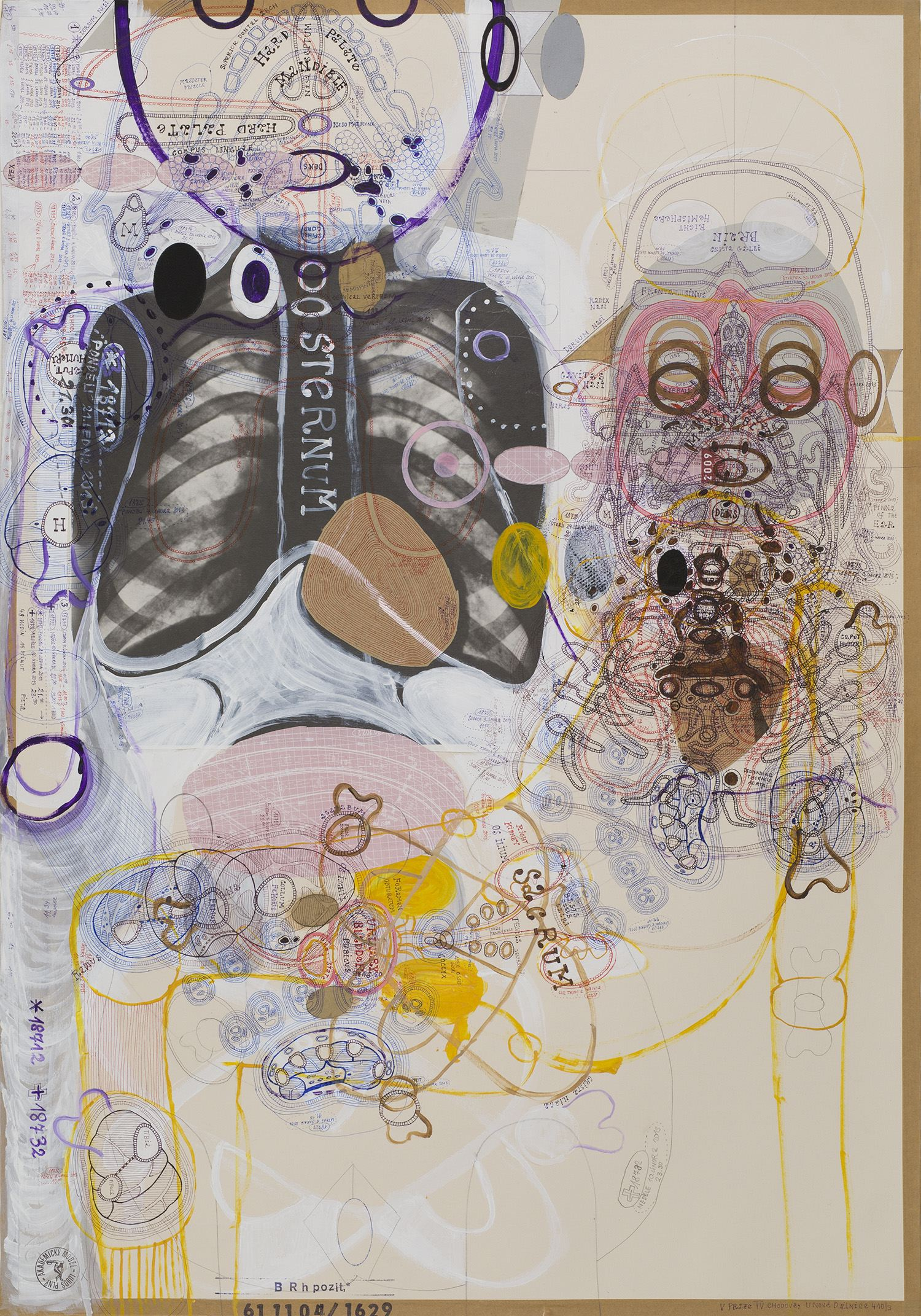 Luboš Plný    Sternum  , 2013 Ink, acrylic, mixed media on paper 33.25 x 23.5 inches 84.5 x 59.7 cm LuP 54