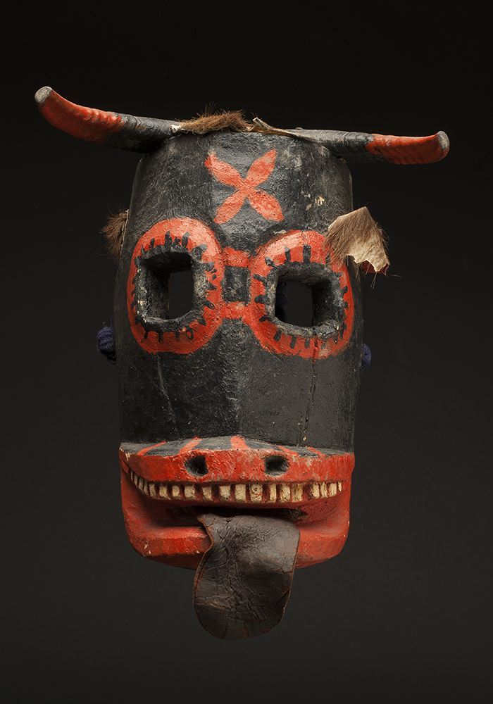 Masks    Mexico - Guerrero - Devil Mask  , Mid 20th C. Polychromed wood, goat horns, nails, and hide 13 x 10.25 x 7.5 inches 33 x 26 x 19.1 cm M 130s