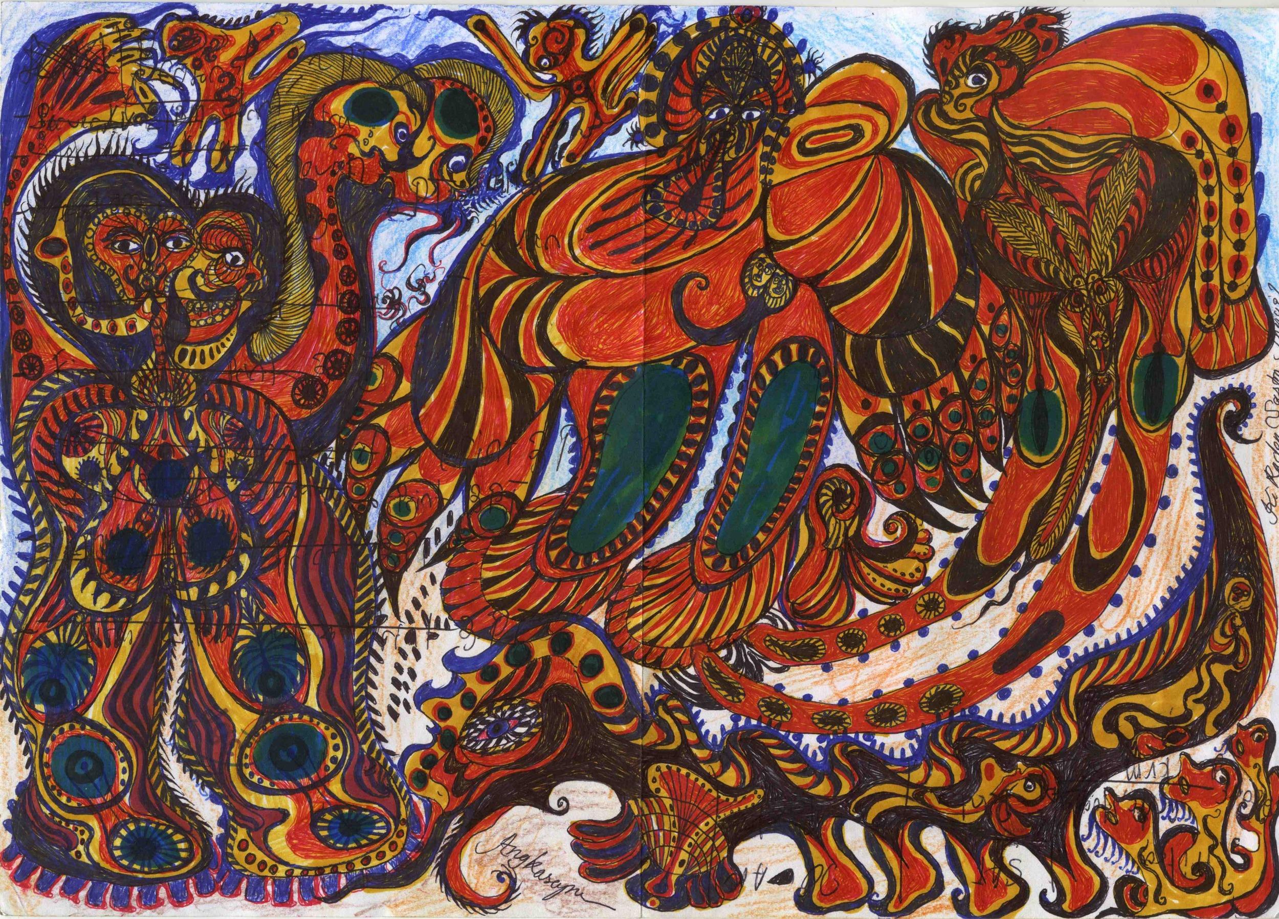 Noviadi Angkasapura    Untitled  , 2014 Ink on found paper 8.25 x 11.75 inches 21 x 29.8 cm NoA 105