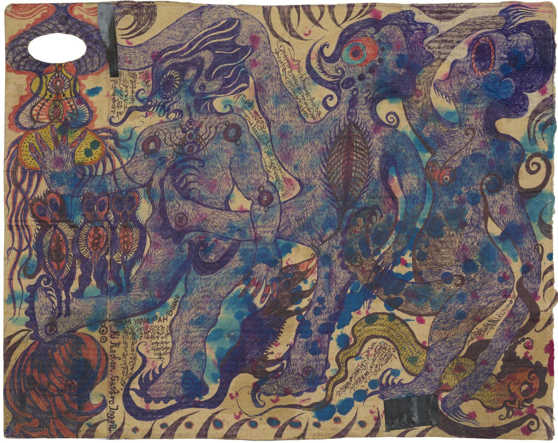 Noviadi Angkasapura    Untitled  , 2014 Ink and watercolor on cardboard 11.5 x 13.5 inches 29.2 x 34.3 cm NoA 135