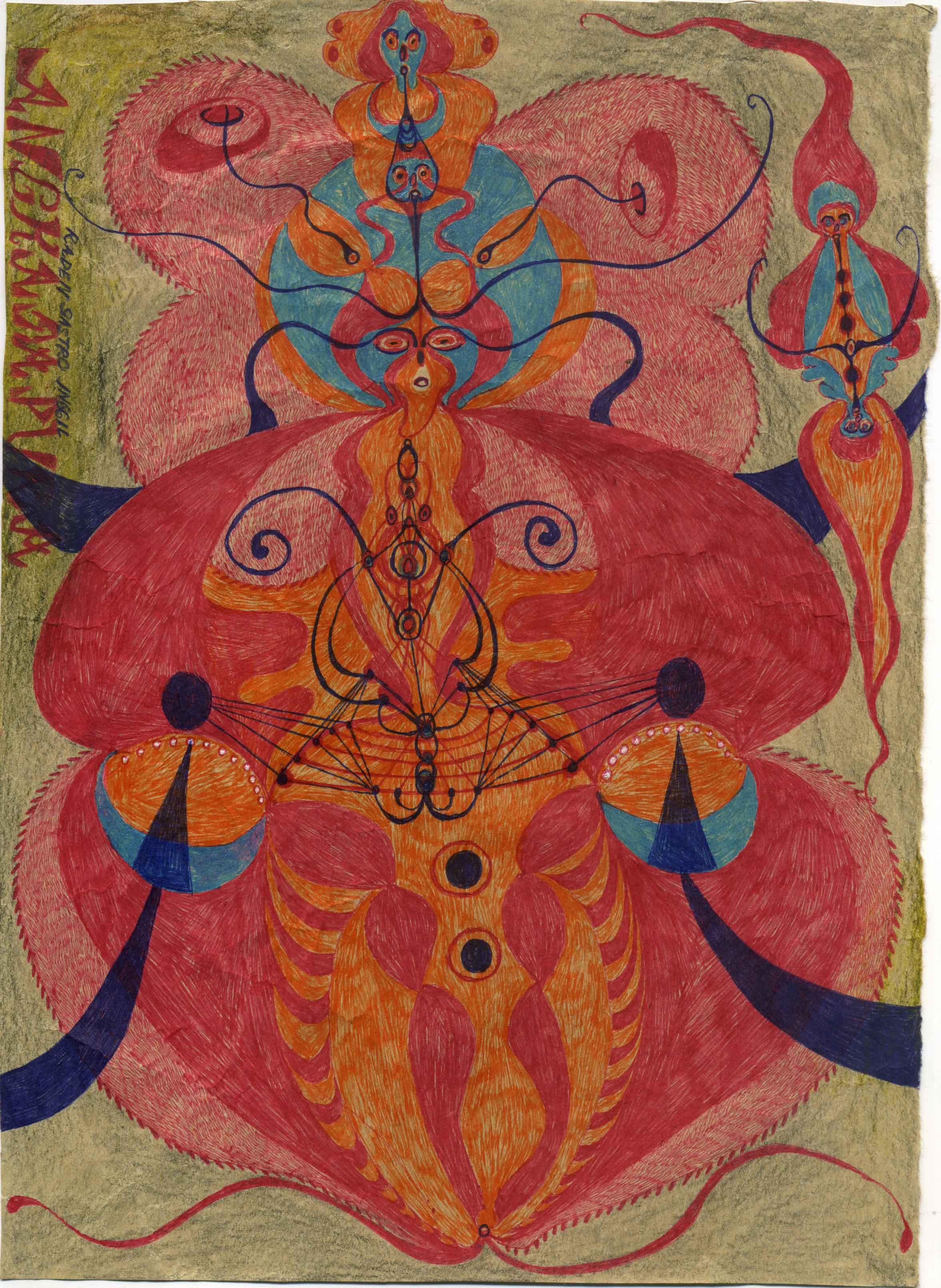 Noviadi Angkasapura    Untitled  , 2015 Ball point pen, glitter, crayon on paper 10.7 x 7.8 inches 27.2 x 19.8 cm NoA 171