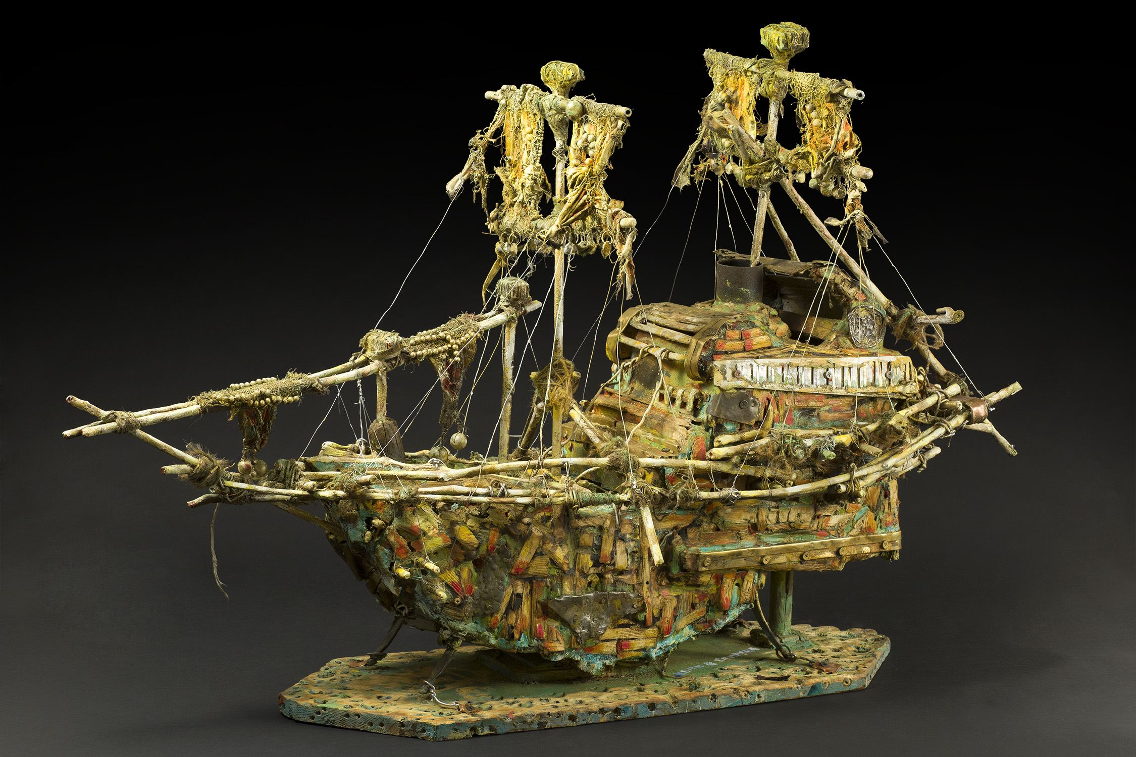 Kevin Sampson    The Kron-Printzen  , 2014 Wood, metal, string, and found materials 26 x 27 x 12 inches 66 x 68.6 x 30.5 cm SK 203