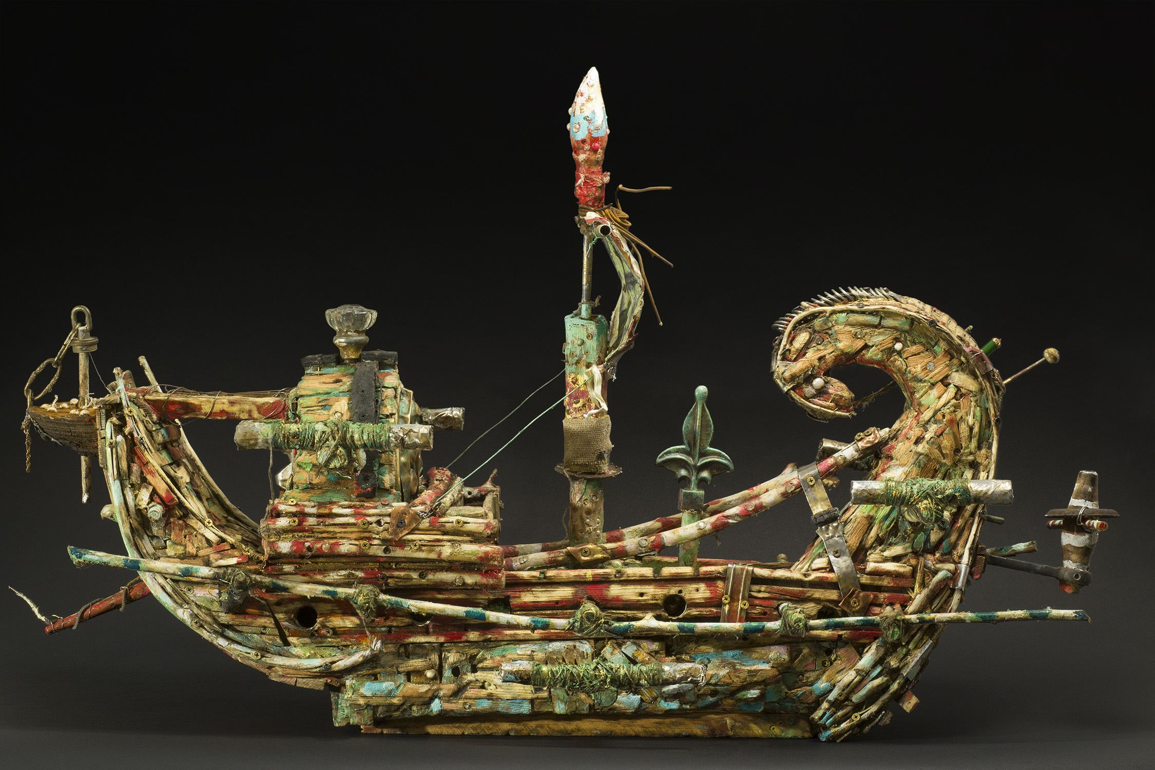 Kevin Sampson    The Madjet  , 2014 Wood, metal, string, and found materials 27 x 25 x 8 inches 68.6 x 63.5 x 20.3 cm SK 204