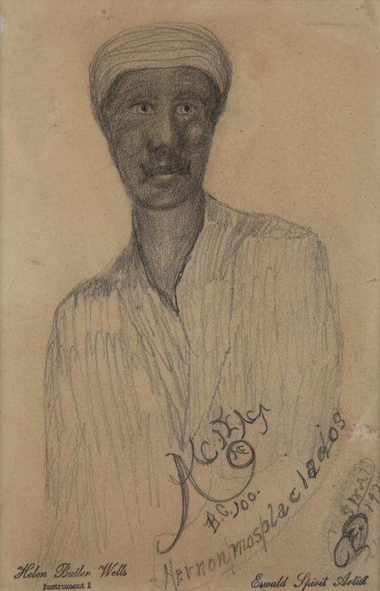 Helen Butler Wells    Spirit Drawing #60, Hernon Mosplaciados  , c.1920 Graphite/paper 7.5 x 5.5 inches 19.1 x 14 cm HW 41