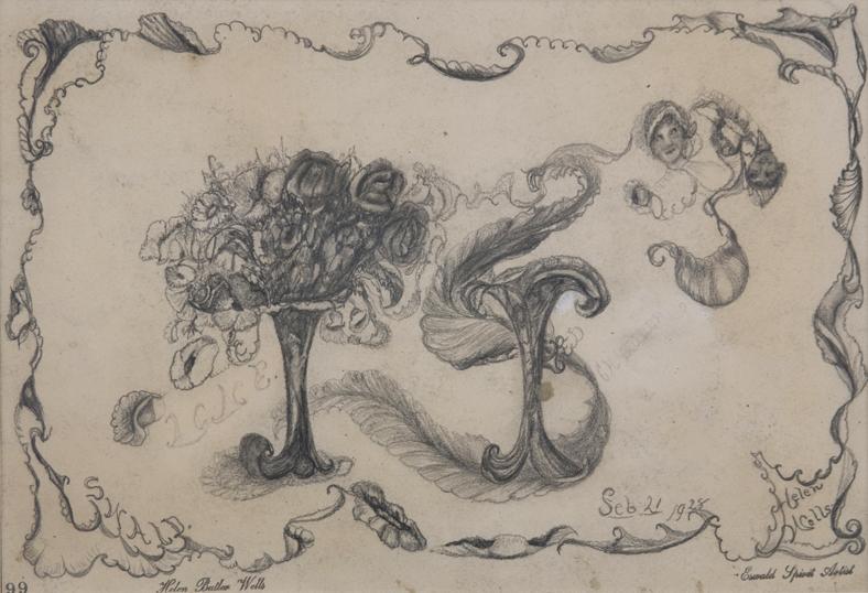 "Helen Butler Wells    Spirit Drawing #99 - ""Lane""  , 1928 Graphite on paper 7.5 x 11 inches 19.1 x 27.9 cm HW 55"
